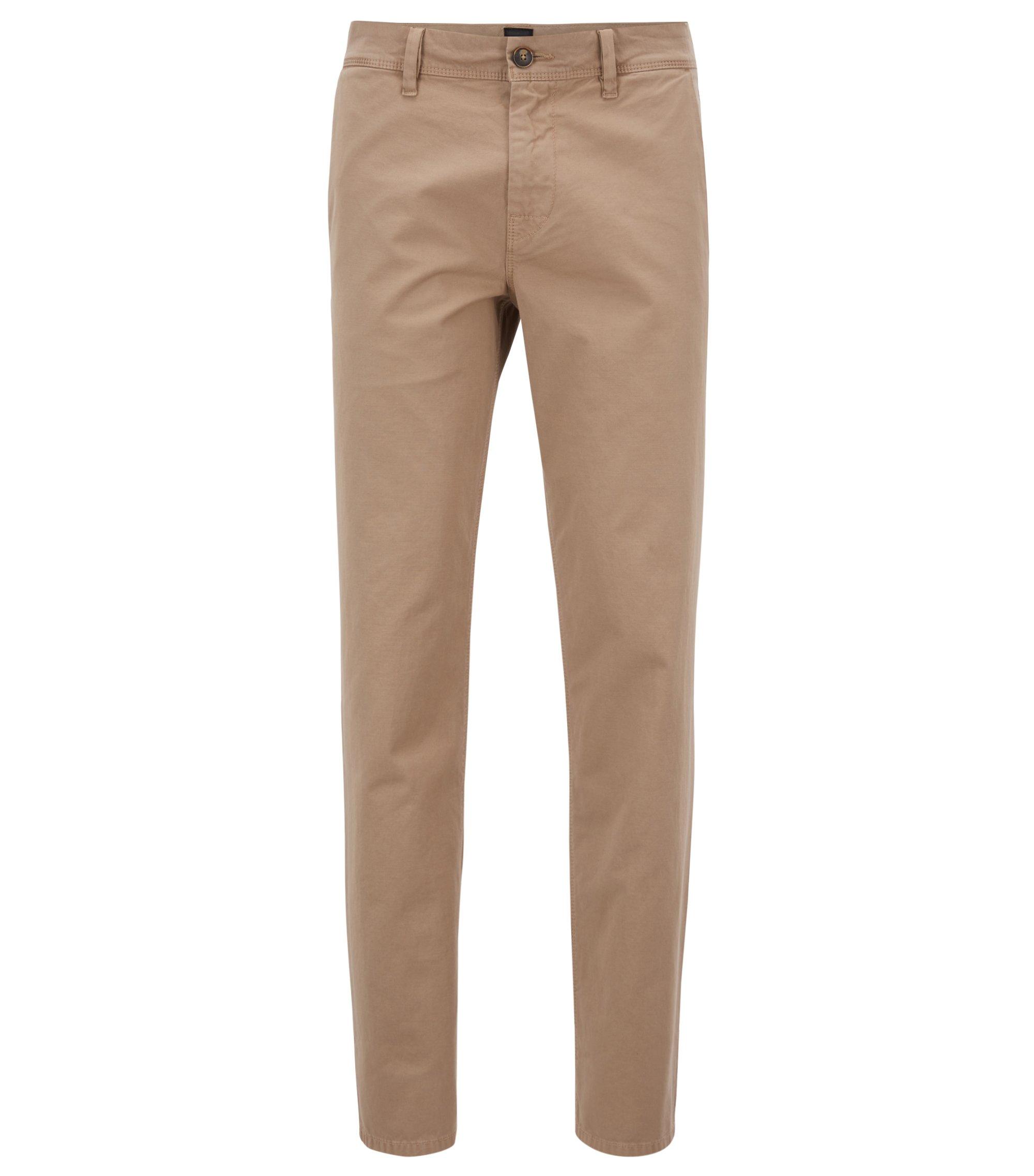 Pantaloni tapered fit in cotone con lavorazioni miste, Beige