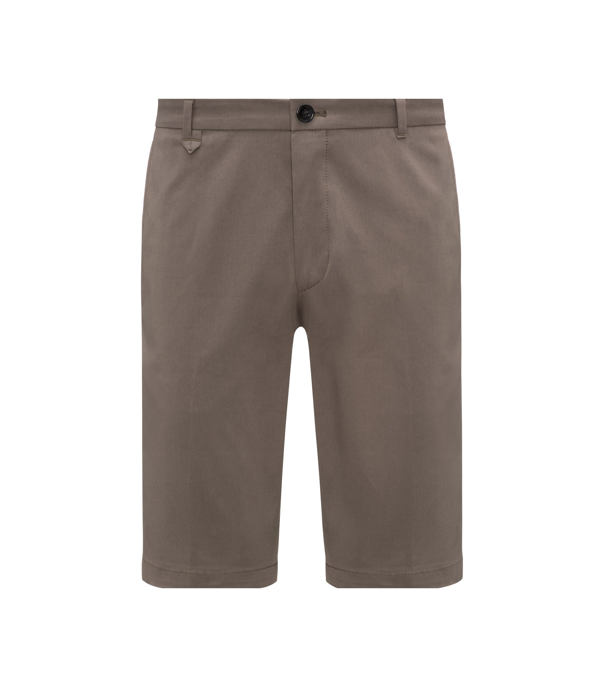 Flat-fronted shorts in stretch micro gabardine, Brown