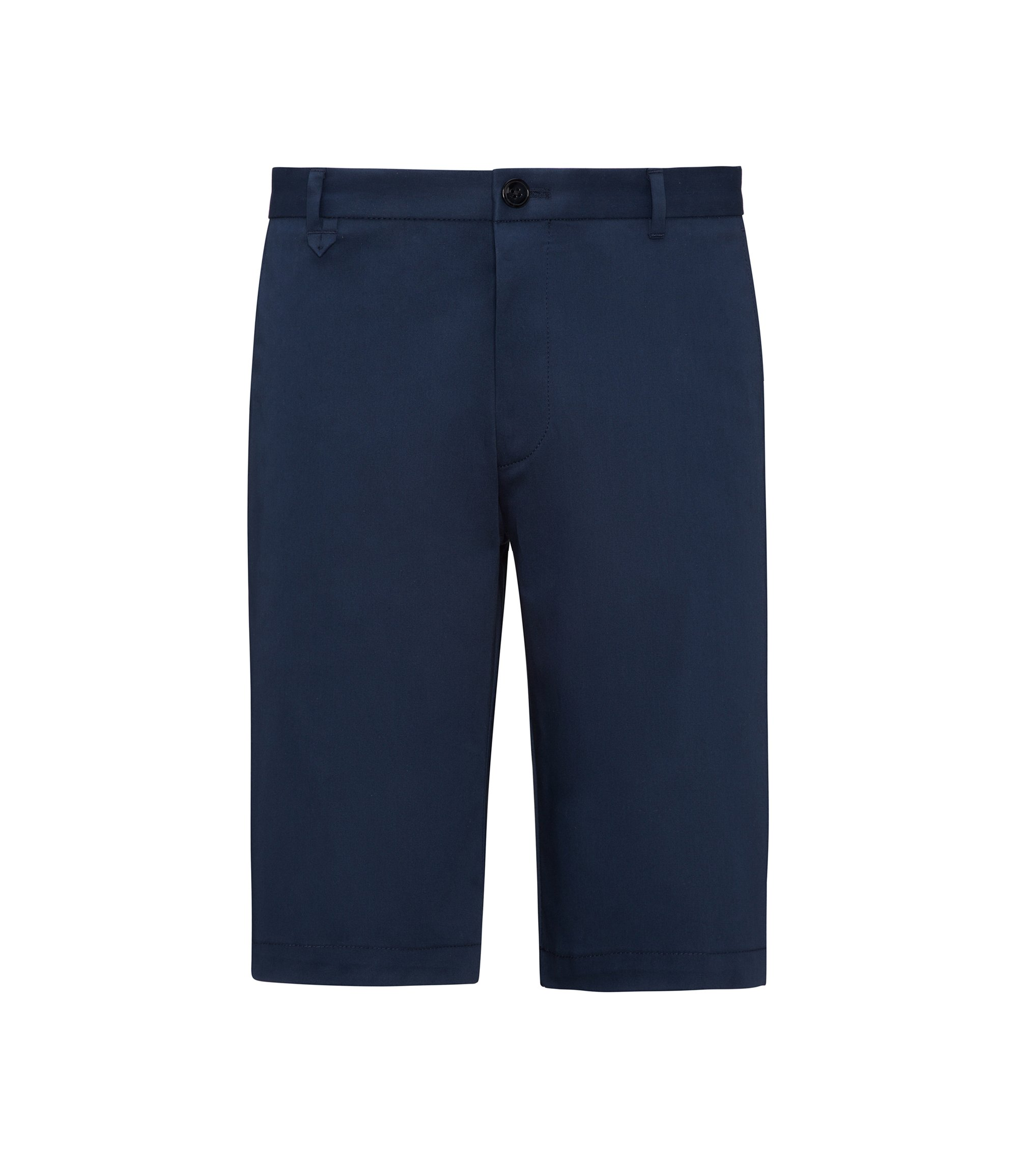 Flat-fronted shorts in stretch micro gabardine, Dark Blue