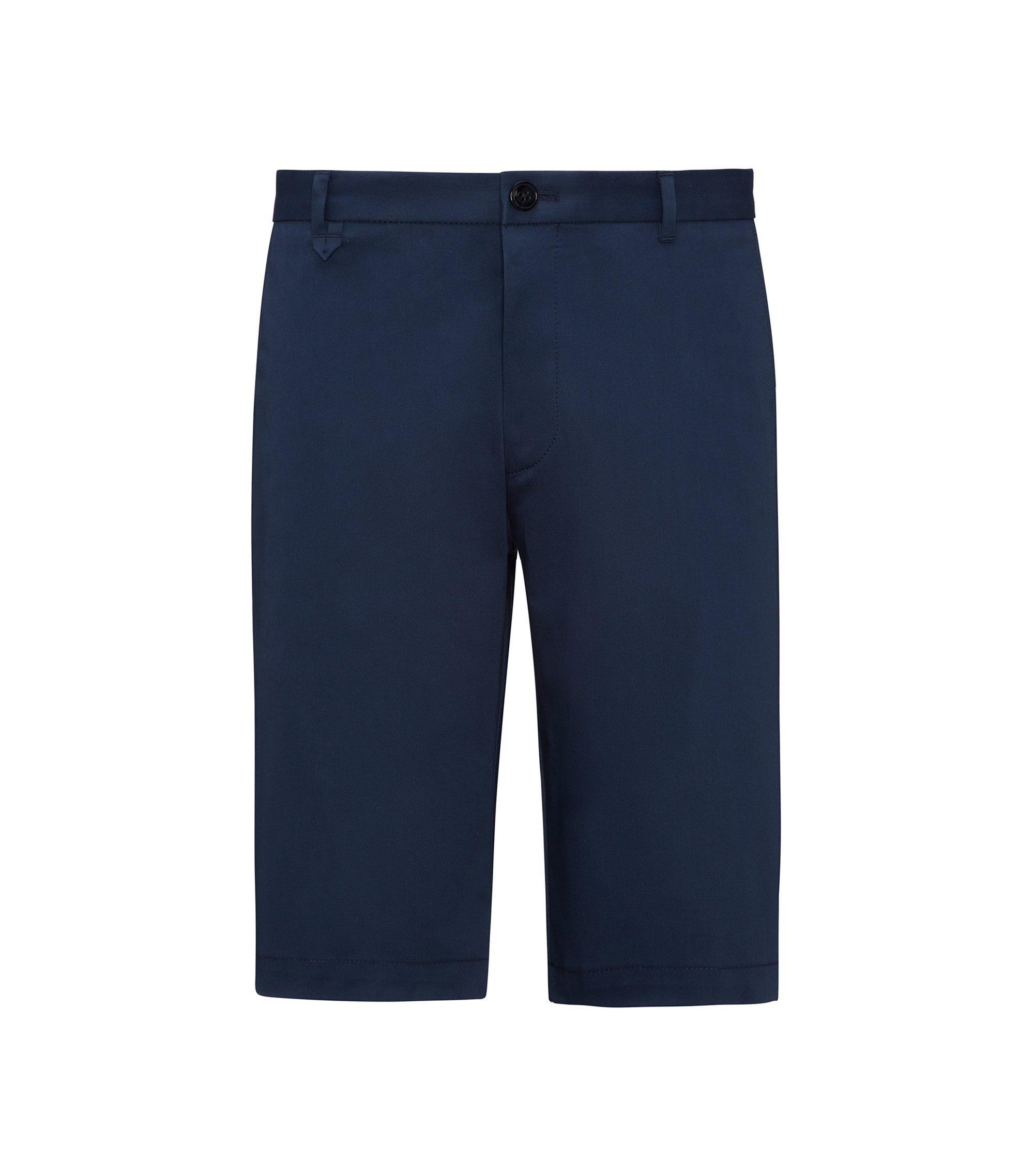 Short sans pinces en micro-gabardine stretch, Bleu foncé