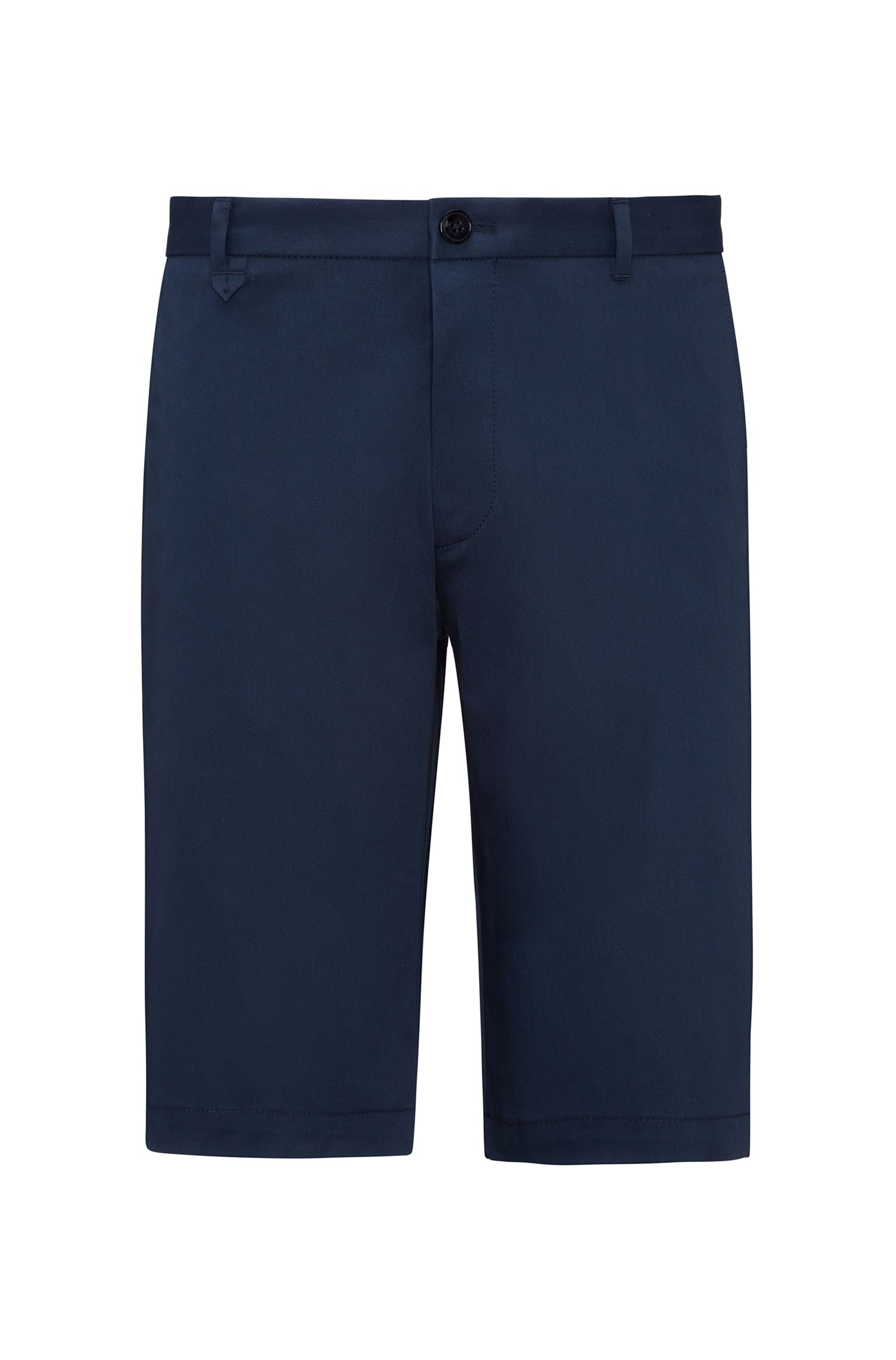 Flat-fronted shorts in stretch micro gabardine