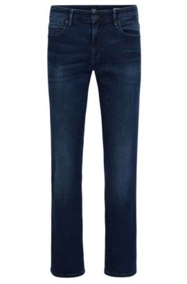Jean Regular Fit en denim super stretch, Bleu foncé
