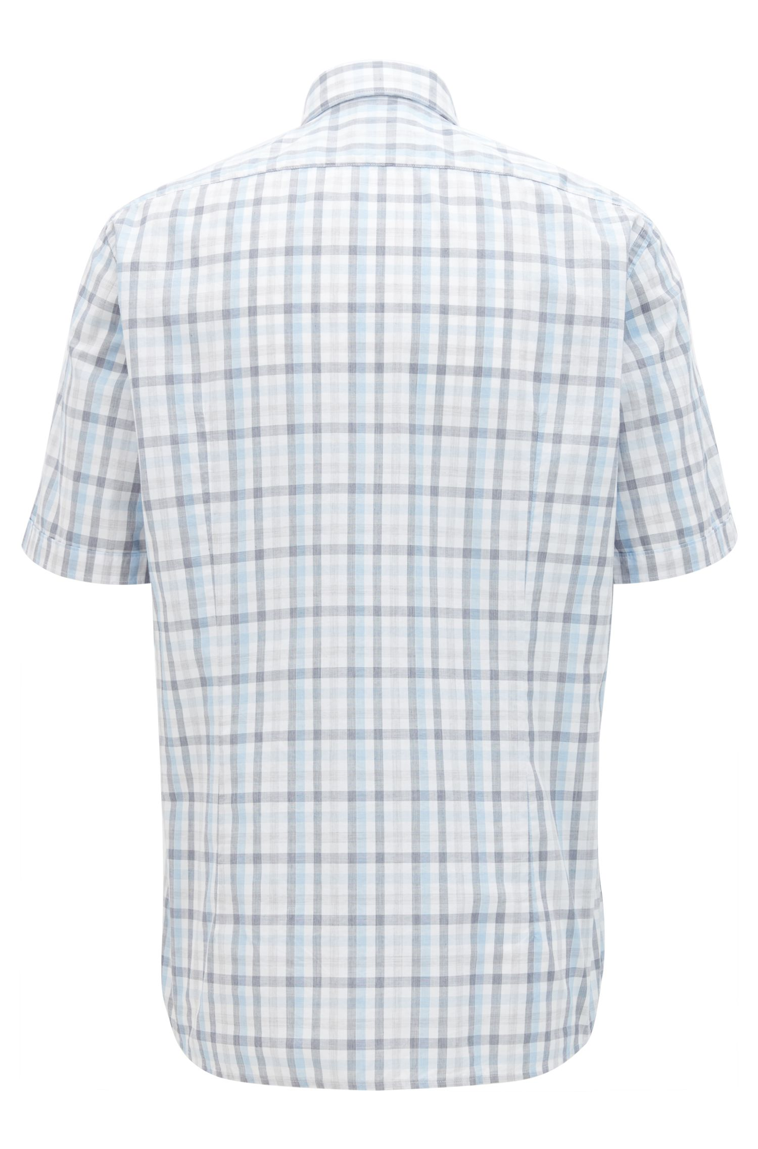 Regular-fit short-sleeved Vichy-check shirt in end-on-end cotton