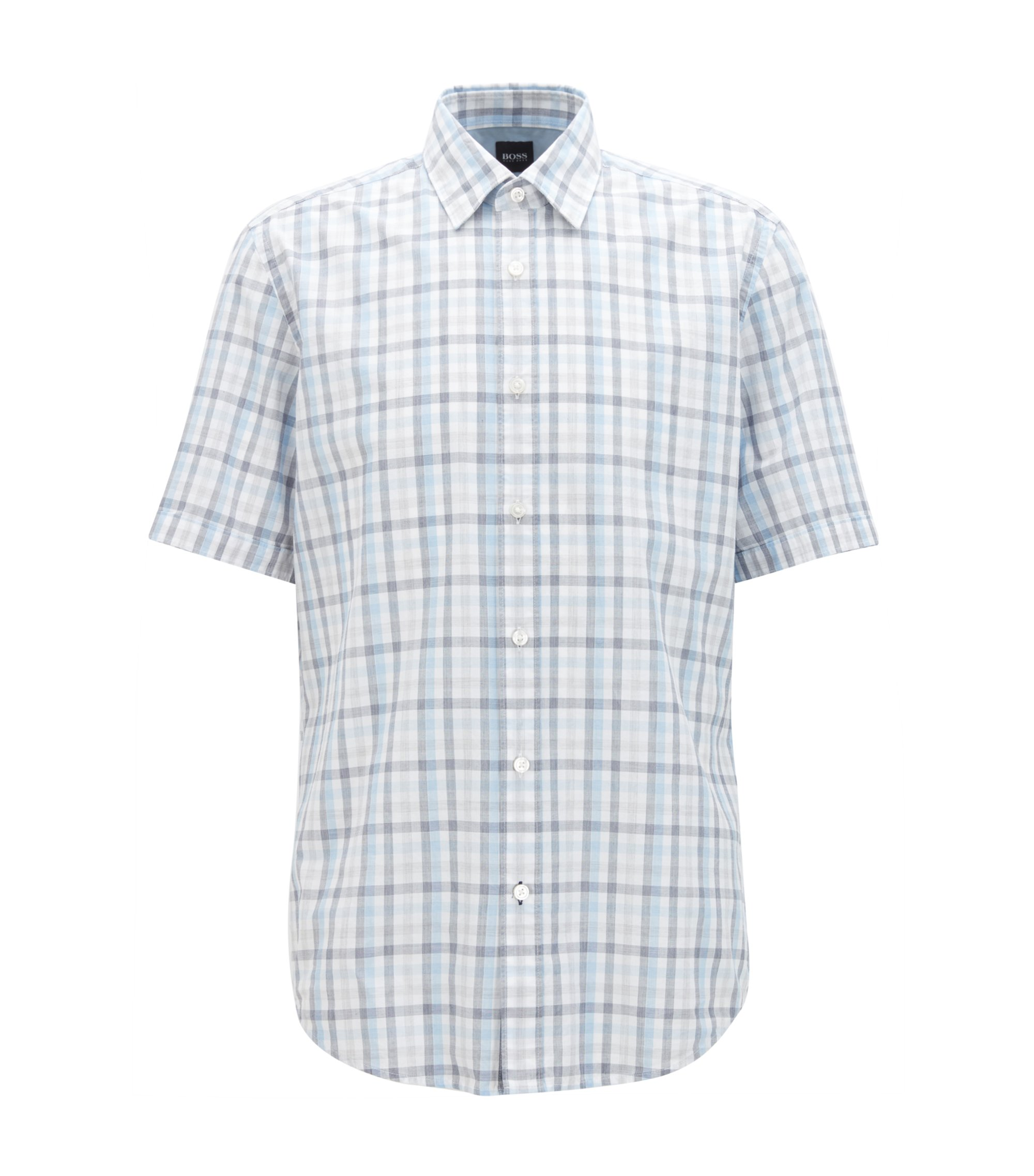 Regular-fit short-sleeved Vichy-check shirt in end-on-end cotton, White