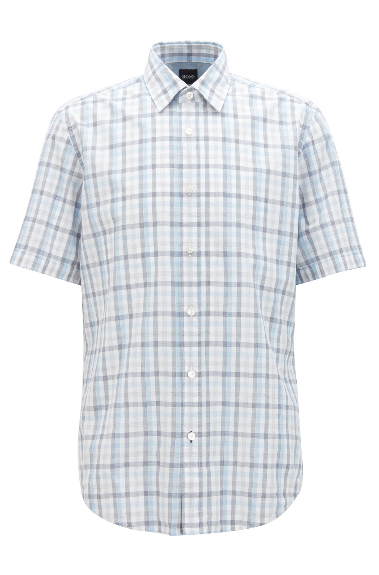 Regular-fit overhemd met korte mouwen, van fil-à-fil-katoen met vichyruiten