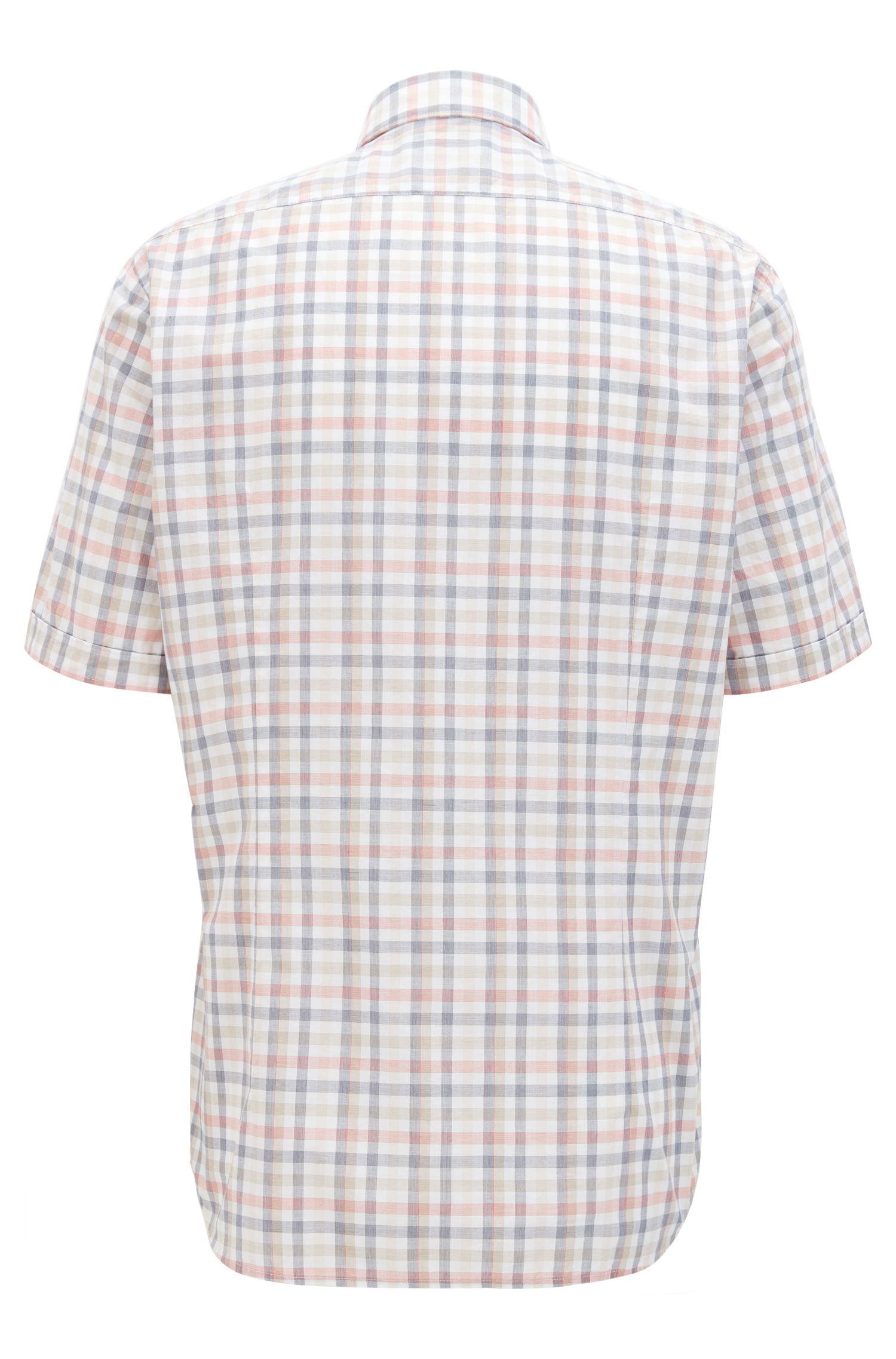 Chemise Regular Fit à manches courtes, à carreaux vichy en coton fil-à-fil