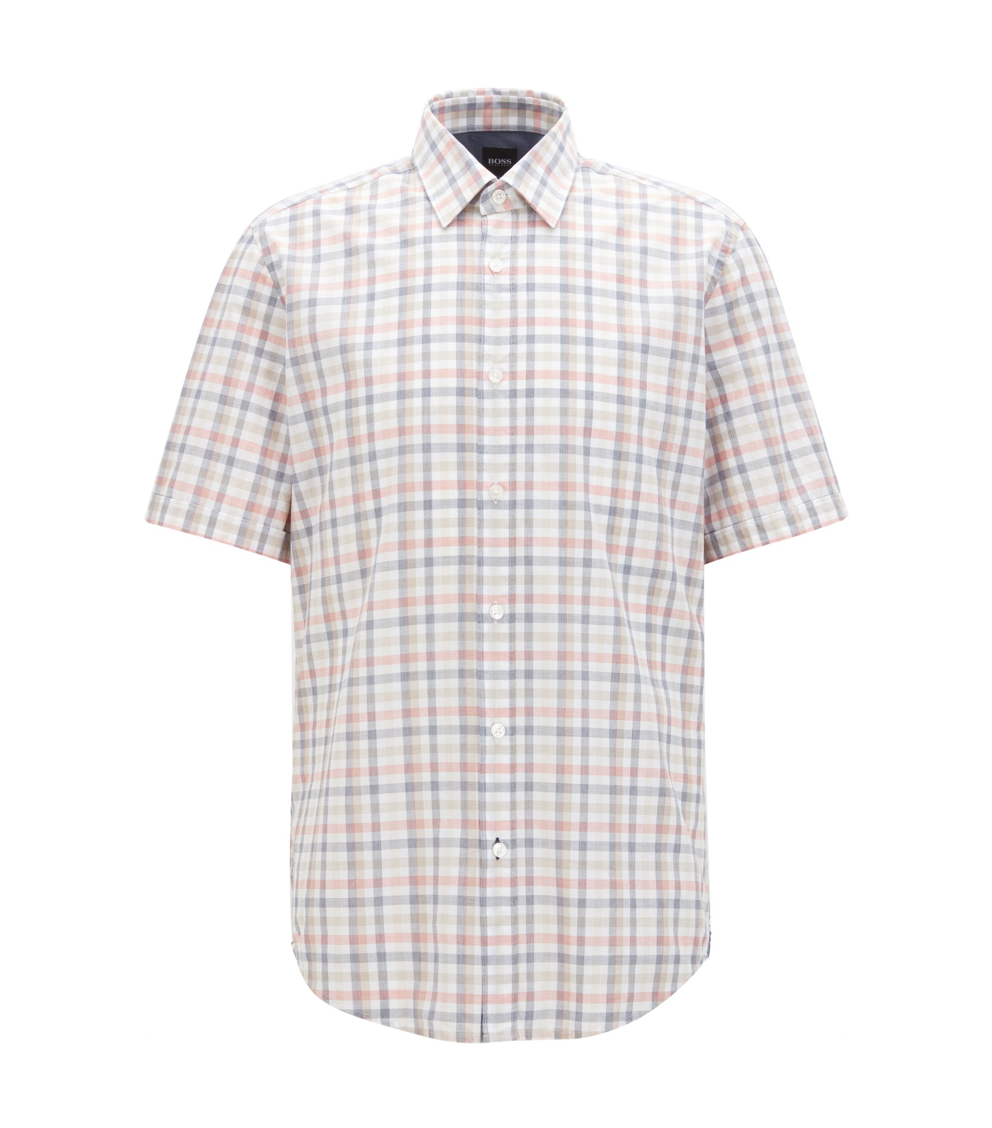 Regular-fit short-sleeved Vichy-check shirt in end-on-end cotton, Orange
