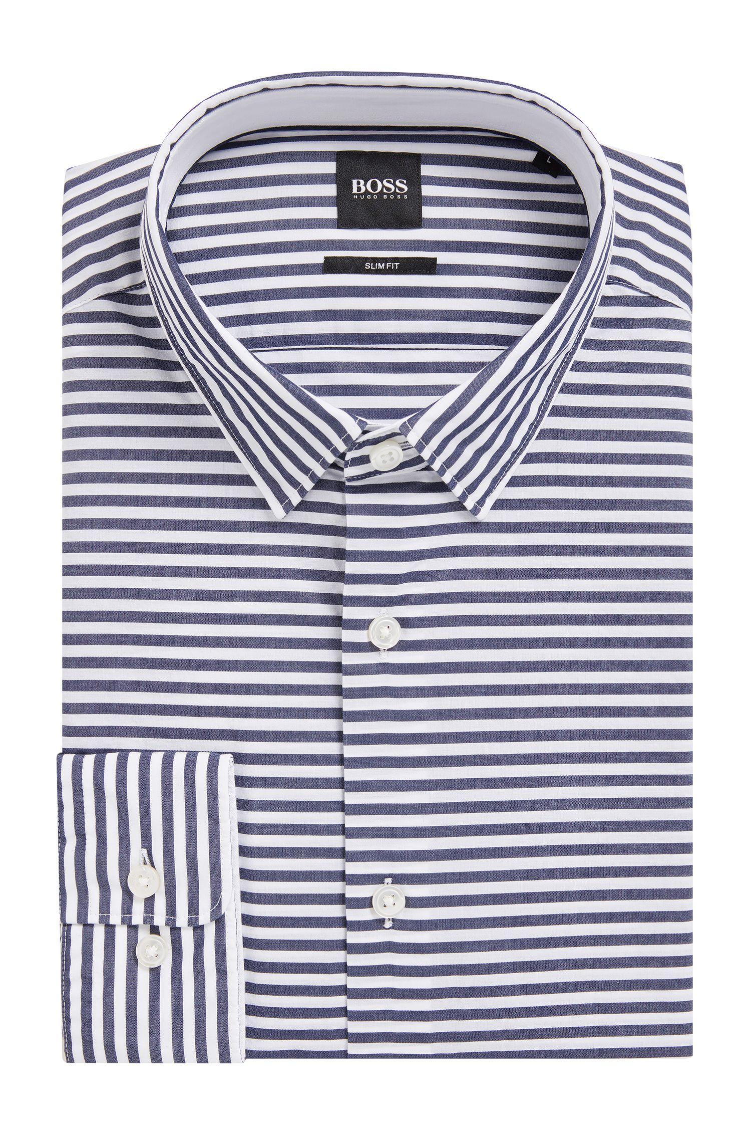 Slim-fit overhemd van gestreepte katoenen popeline