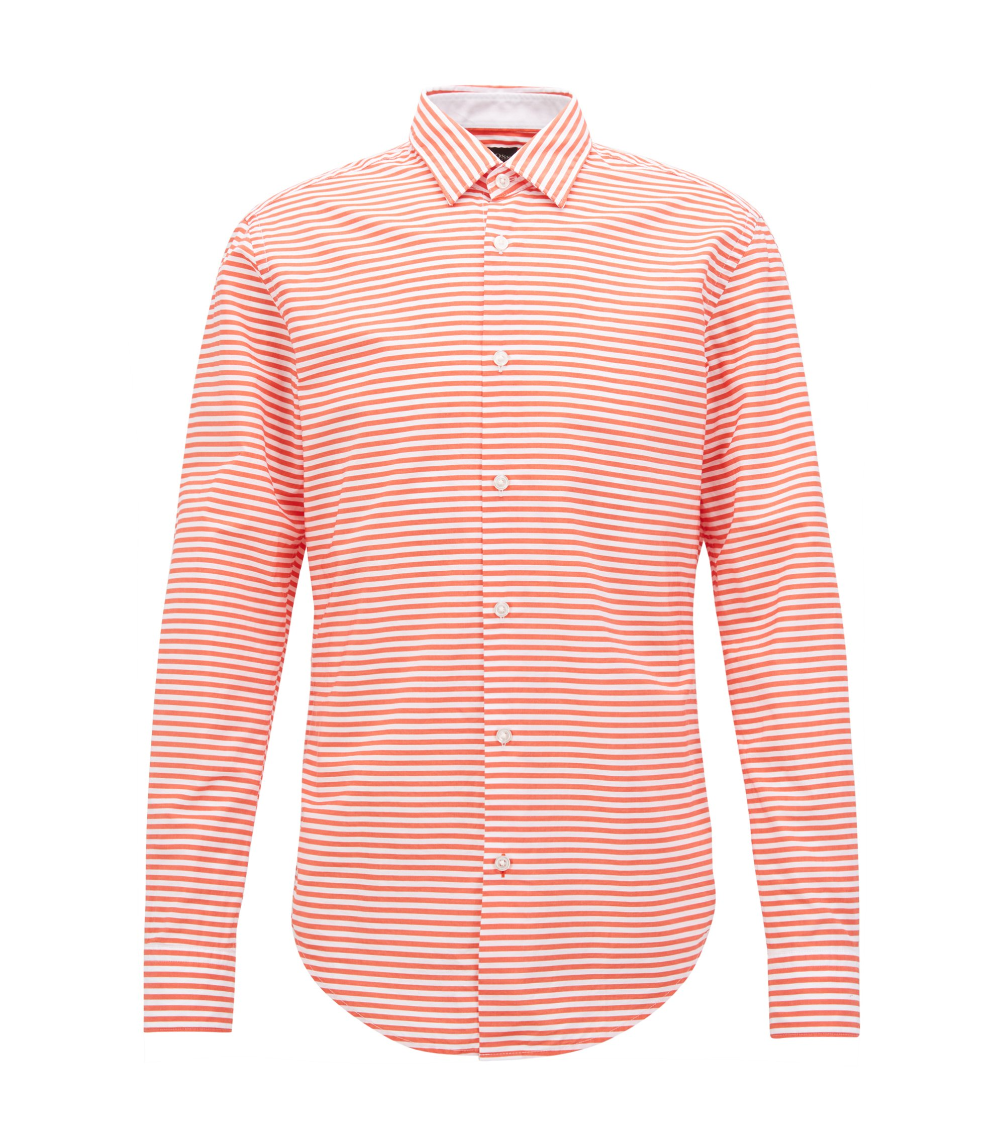 Slim-fit shirt in striped cotton poplin, Orange