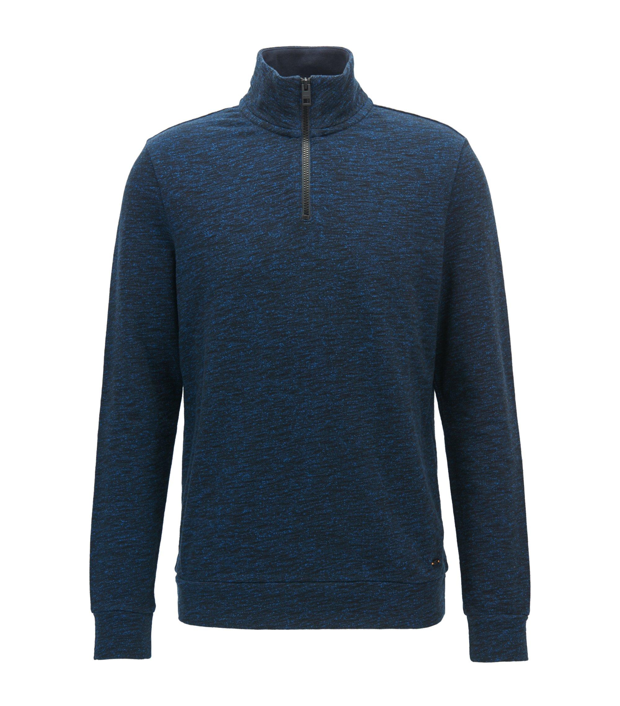 Zip-neck sweater in a heathered cotton blend, Dark Blue