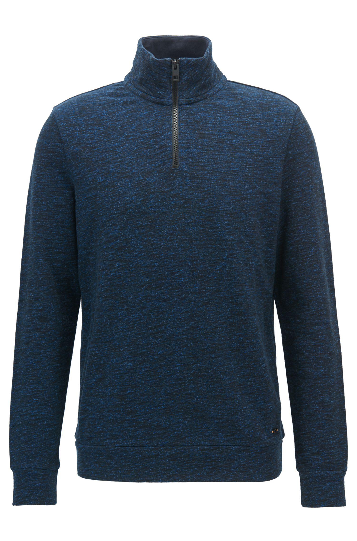 Melierter Pullover aus Baumwoll-Mix mit Troyer-Kragen