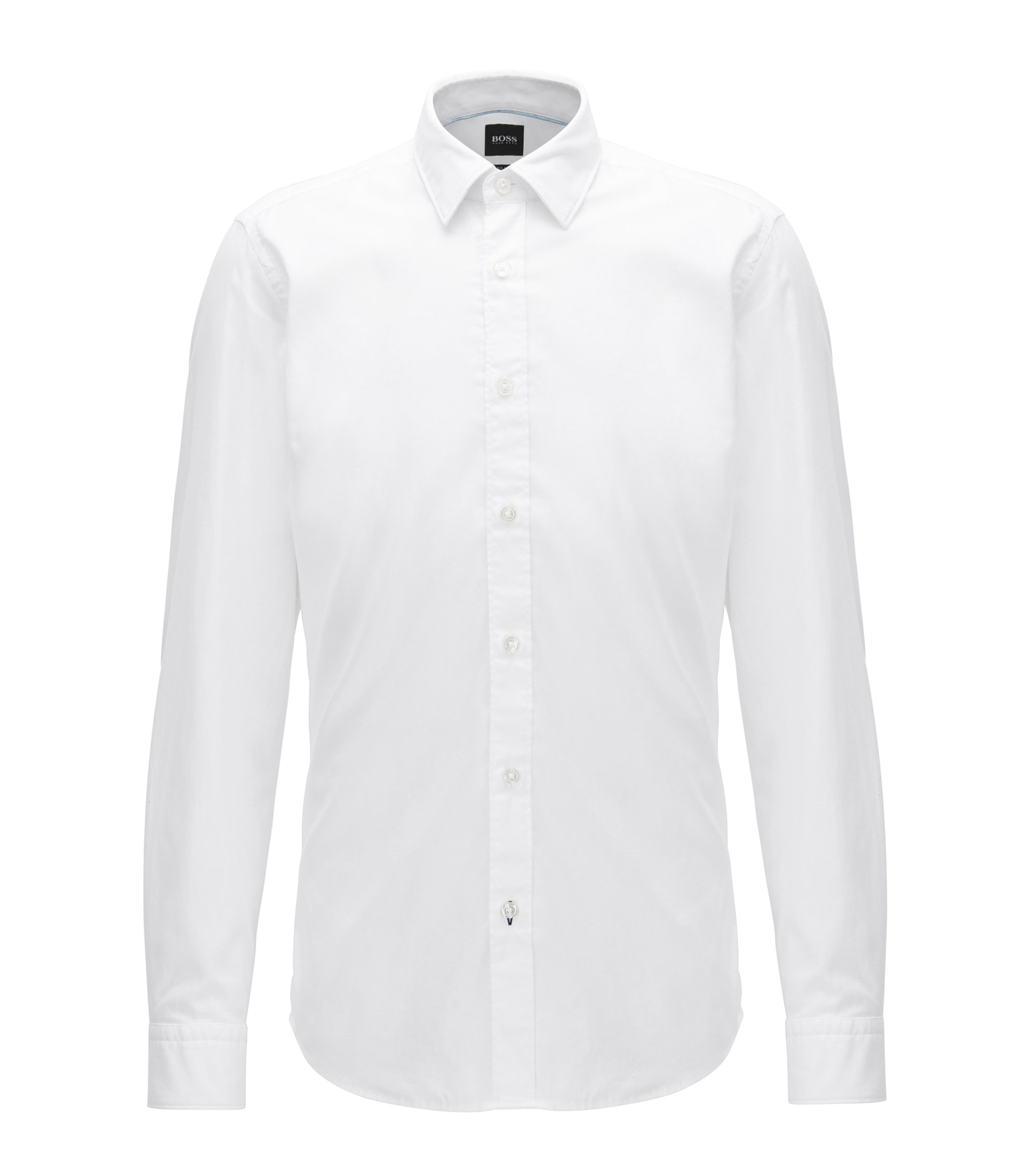 Slim-fit dobby shirt in a cotton blend , White