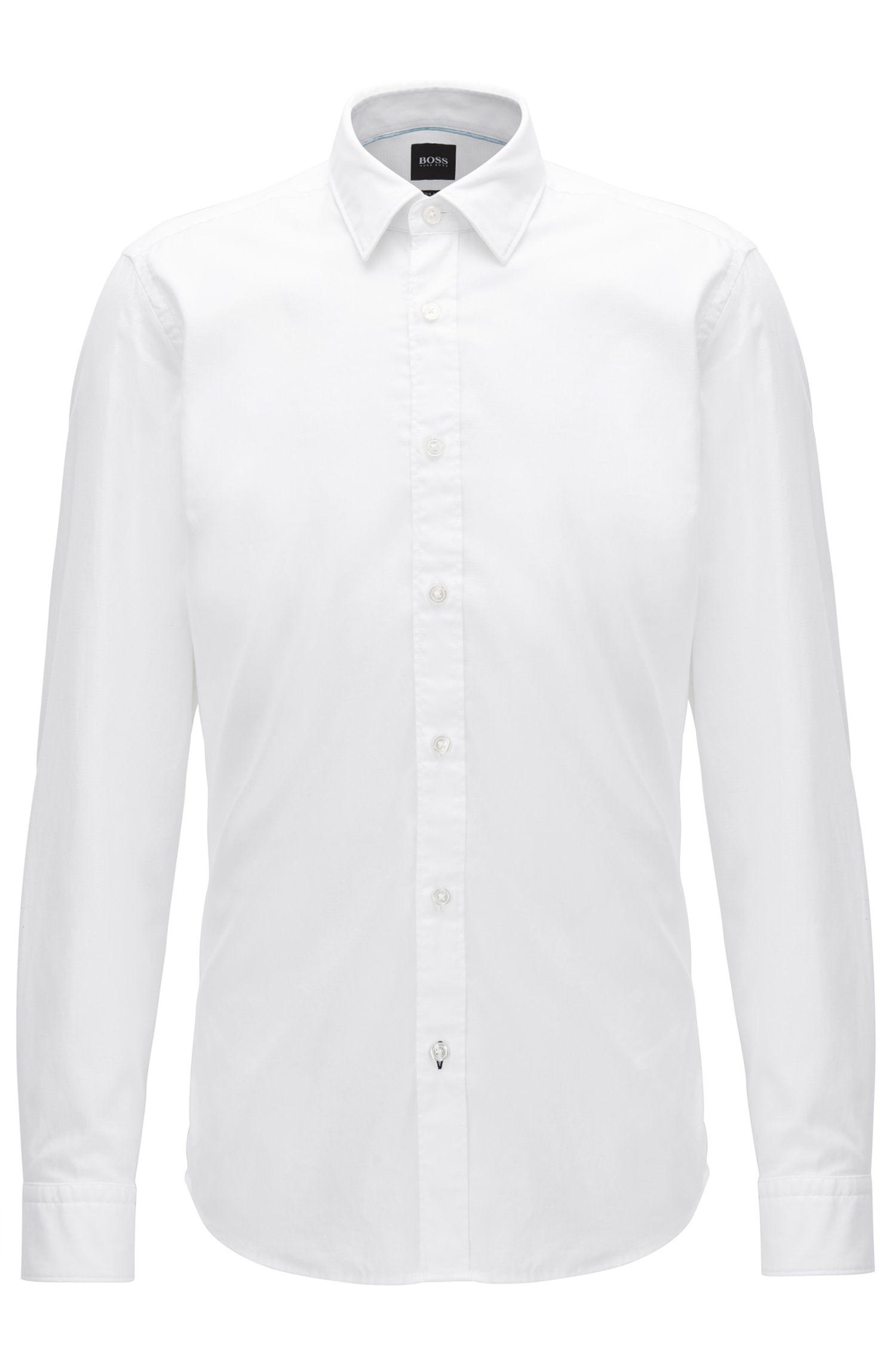 Slim-Fit Hemd aus strukturiertem Baumwoll-Mix