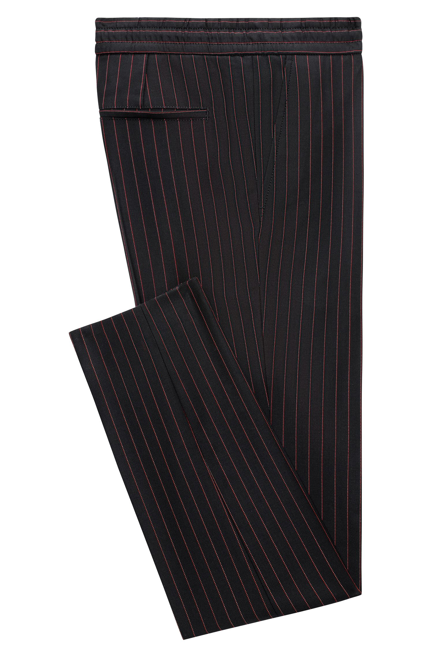 Pinstripe virgin wool trousers in a tapered fit