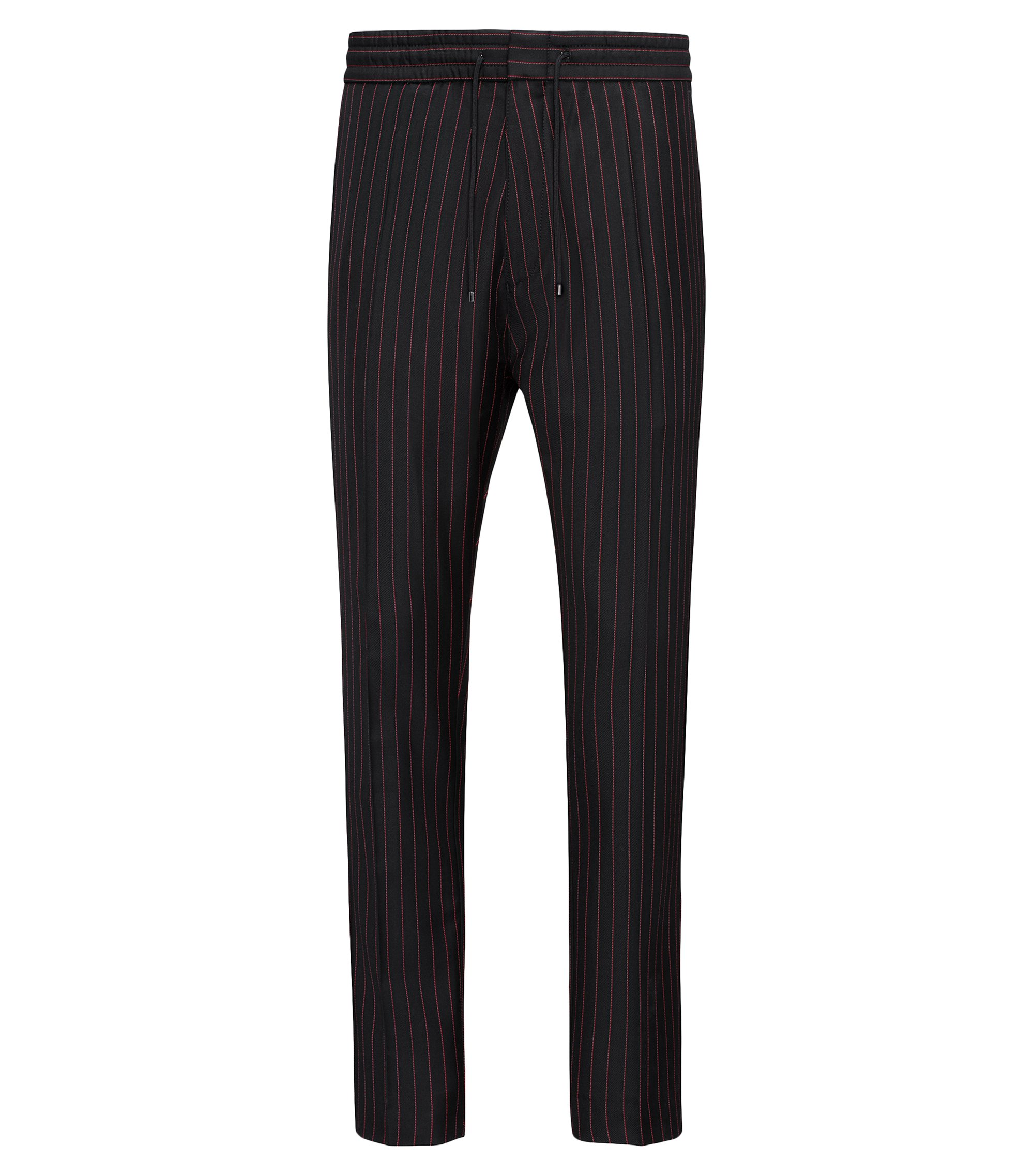 Pinstripe virgin wool trousers in a tapered fit, Black