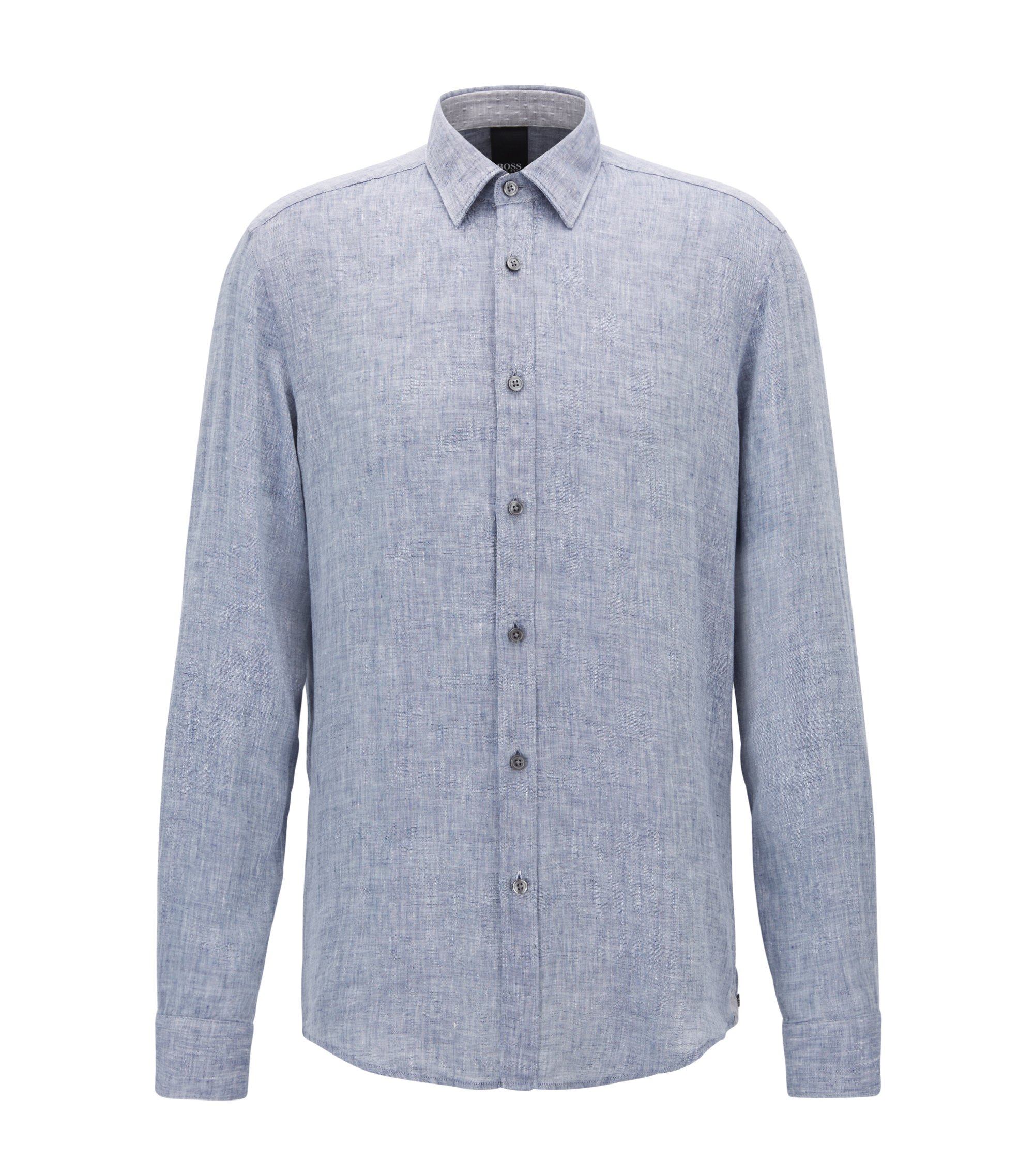 Regular-fit shirt in washed linen, Dark Blue