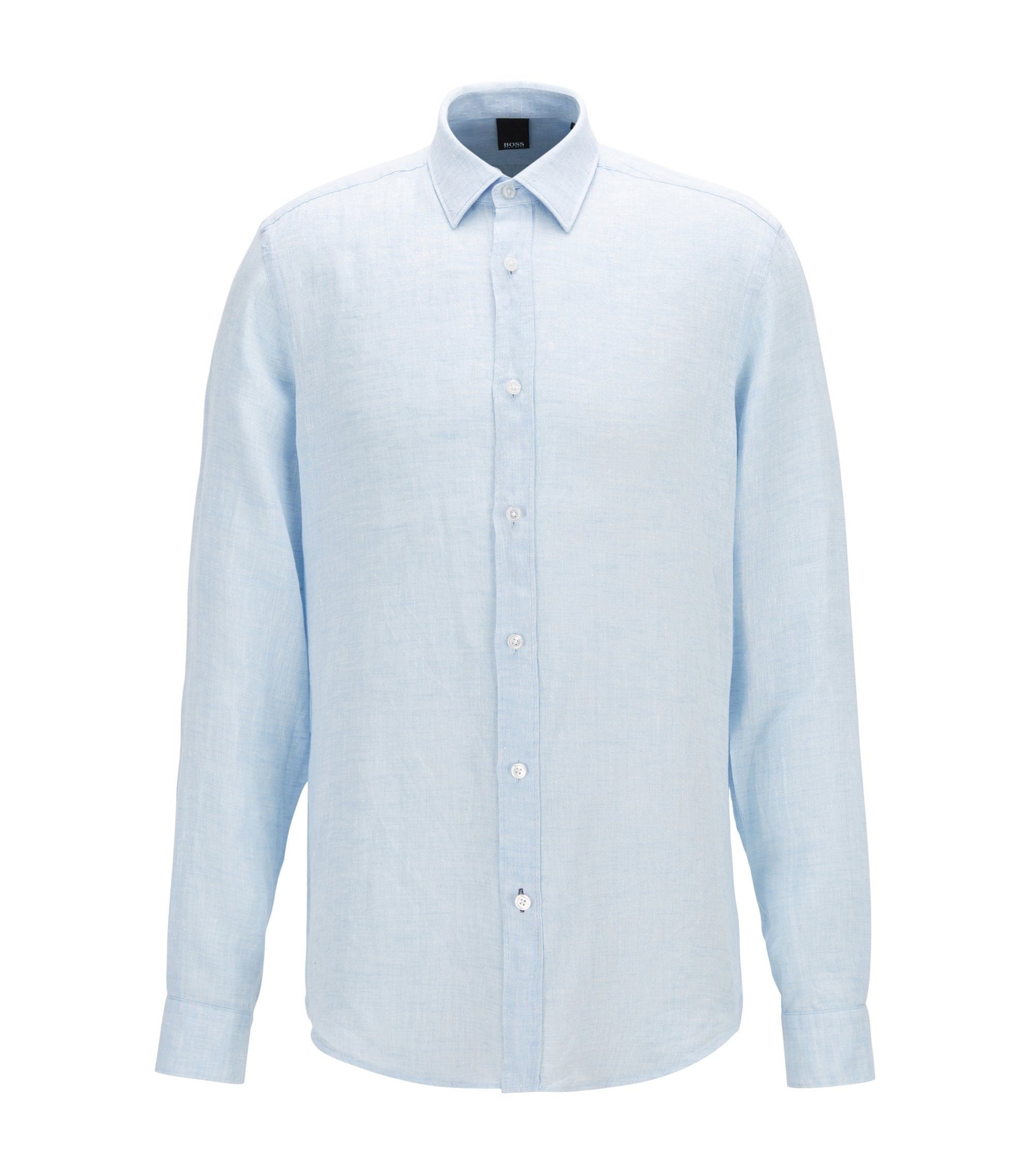 Regular-fit shirt in washed linen, Light Blue