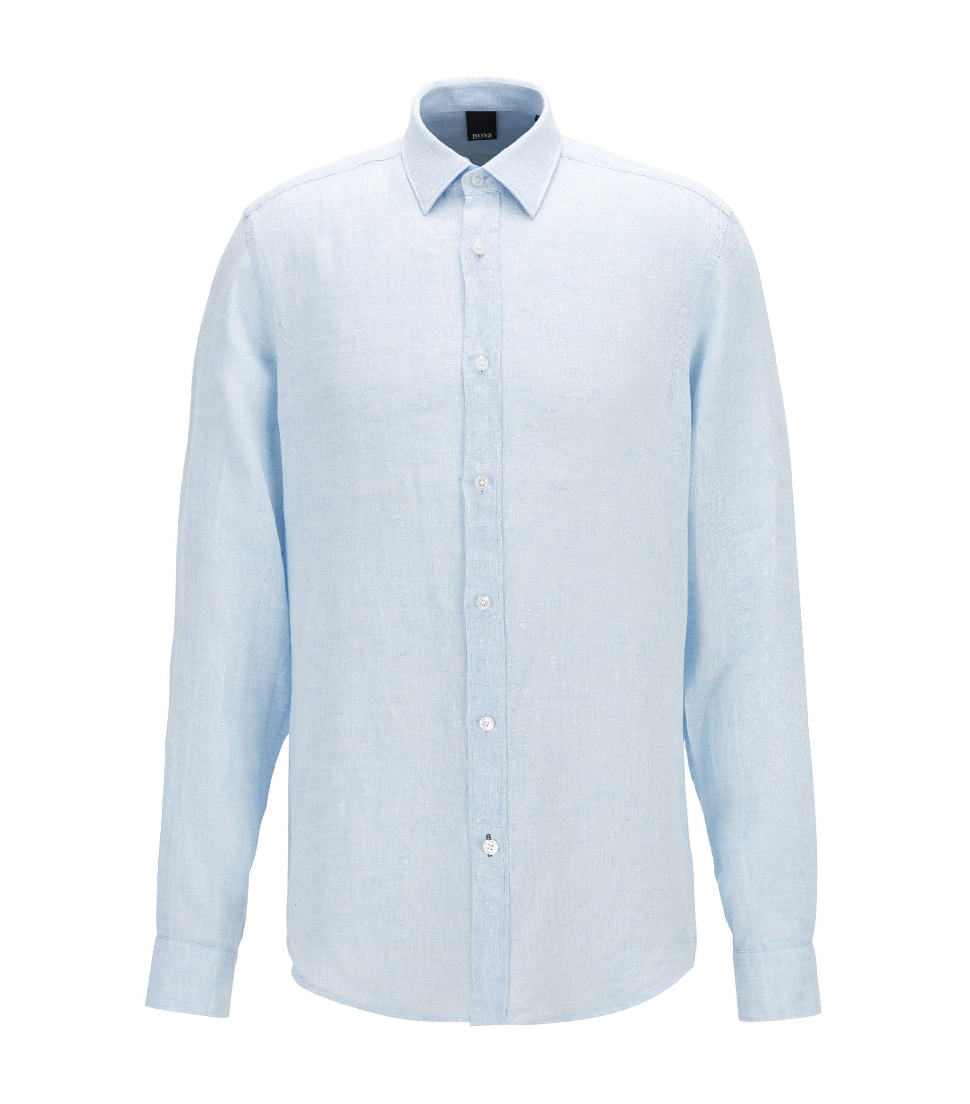 Camisa regular fit en lino lavado, Celeste