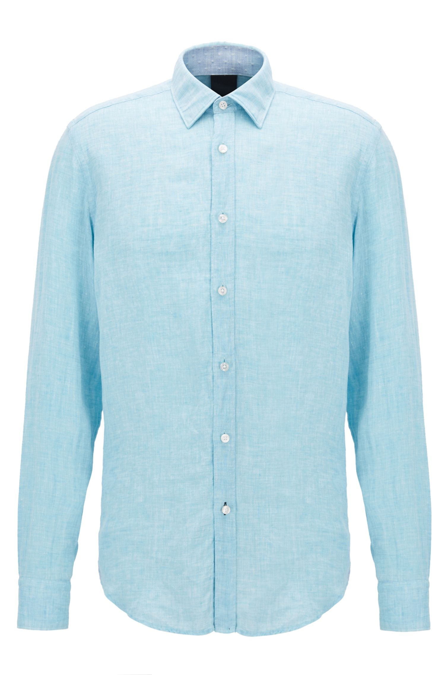 Regular-fit shirt in washed linen