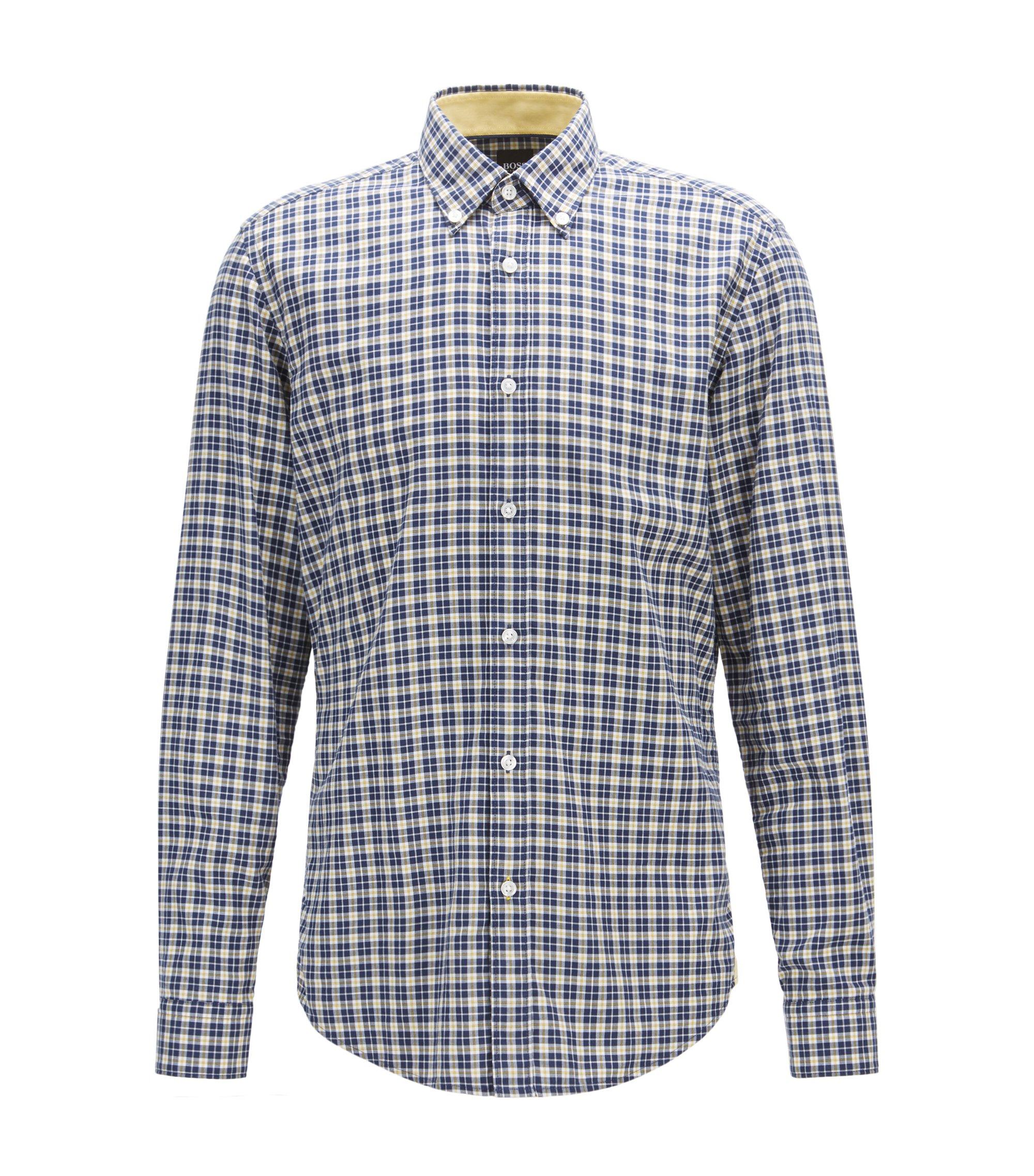 Regular-fit shirt in checked cotton twill, Blue