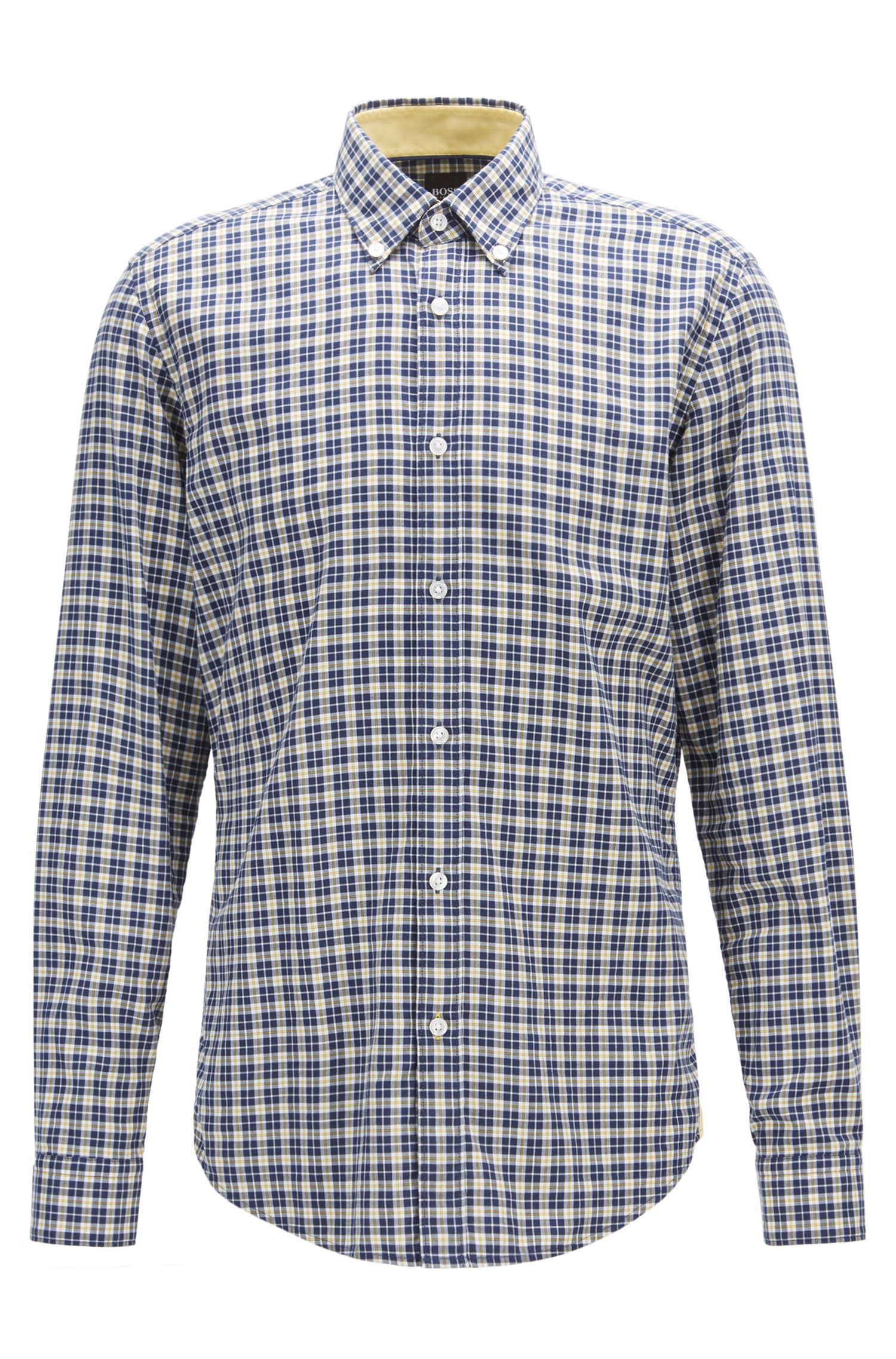 Regular-fit shirt in checked cotton twill