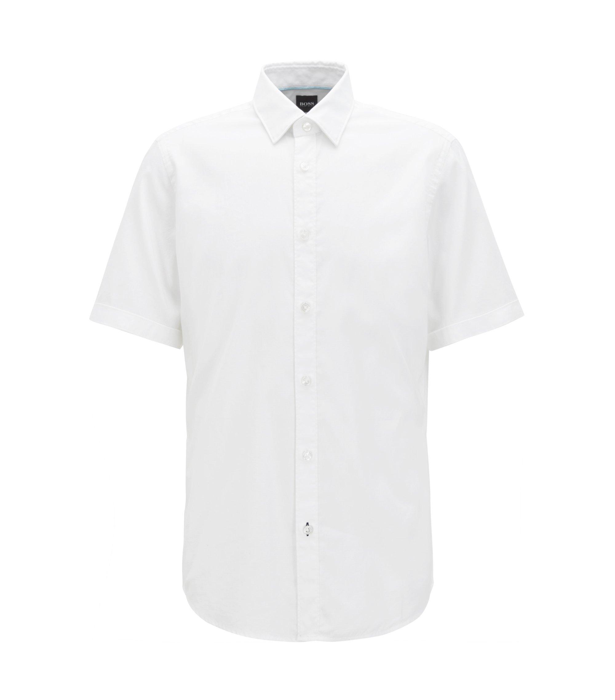 Regular-fit overhemd van een katoenmix met korte mouwen , Wit