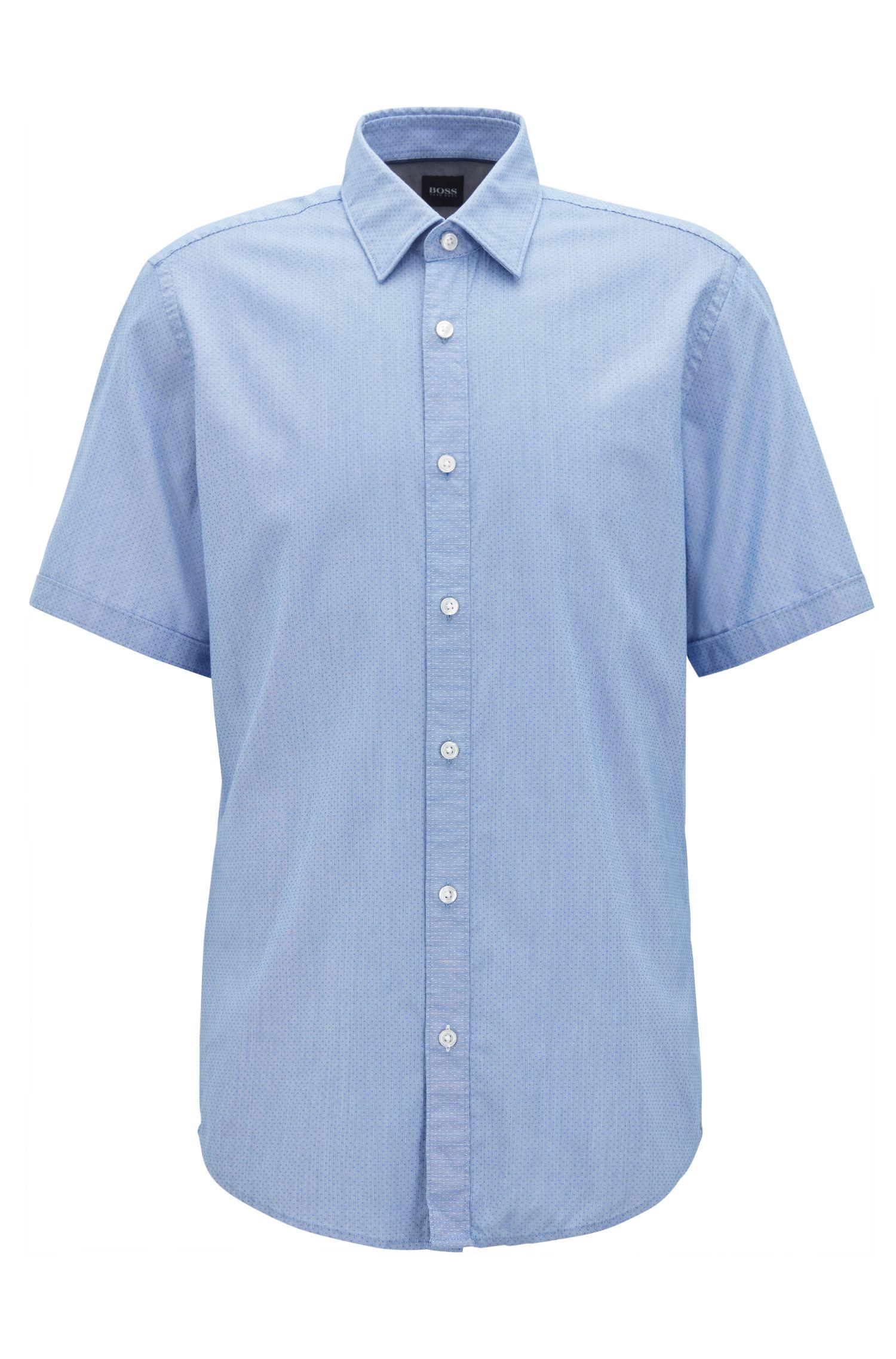Camicia a maniche corte regular fit in misto cotone