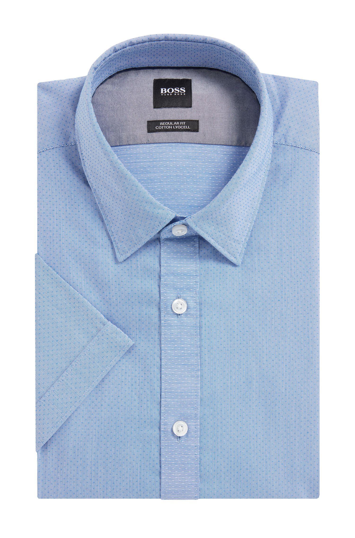 Regular-fit short-sleeved shirt in cotton-blend
