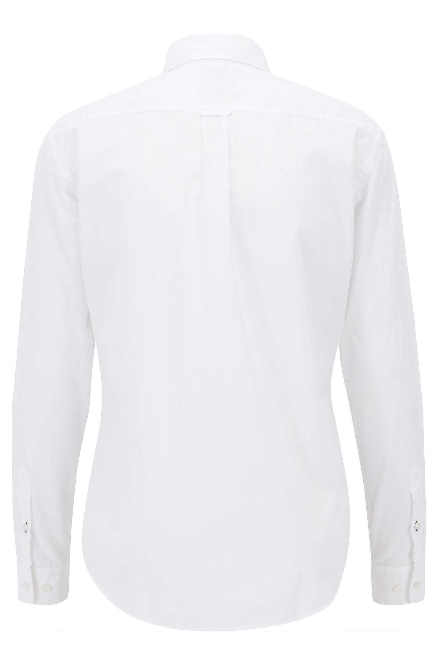 Chemise à manches longues Slim Fit en coton fil-à-fil