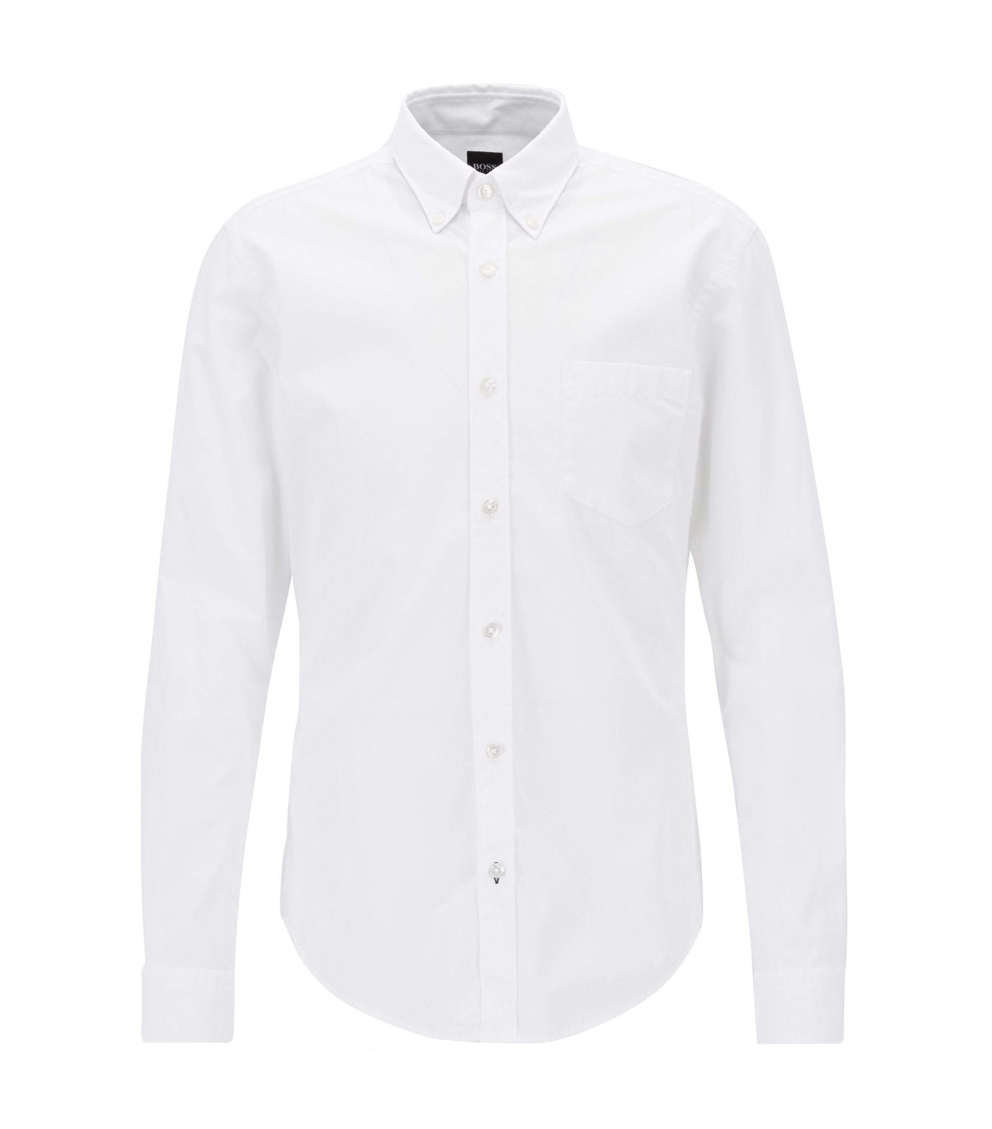 Slim-fit long-sleeved shirt in fil-à-fil cotton, White