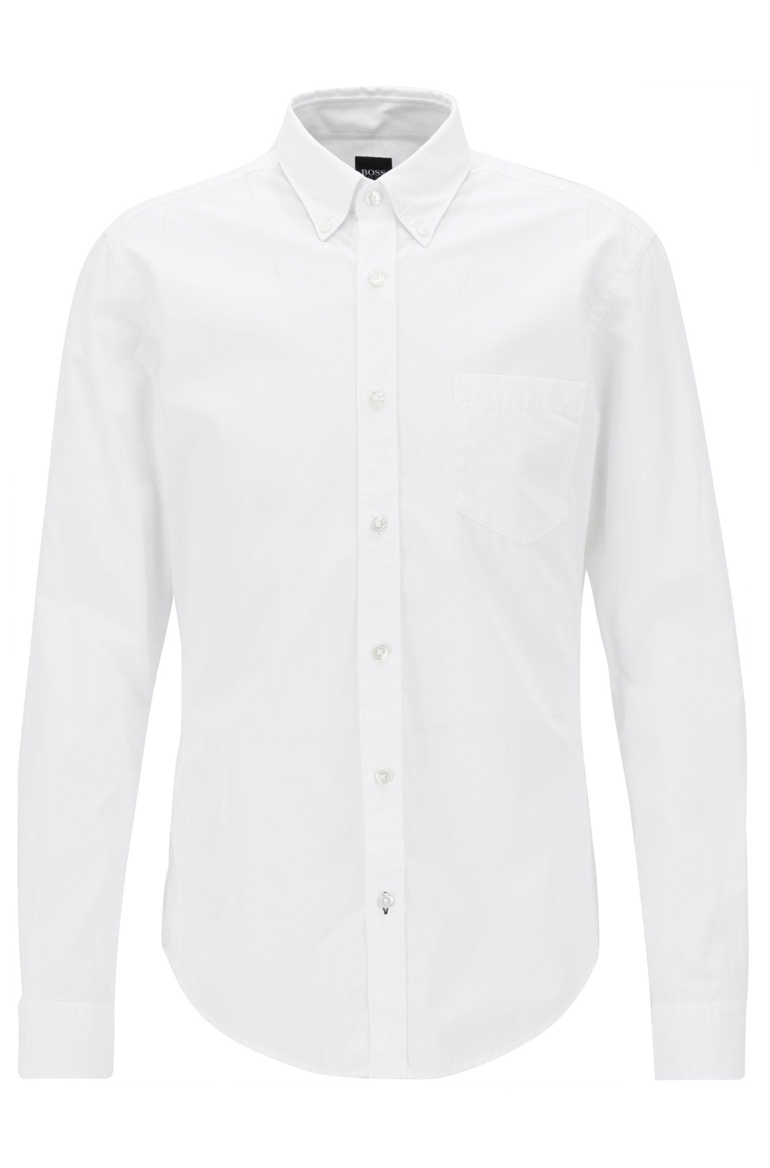 Slim-fit long-sleeved shirt in fil-à-fil cotton