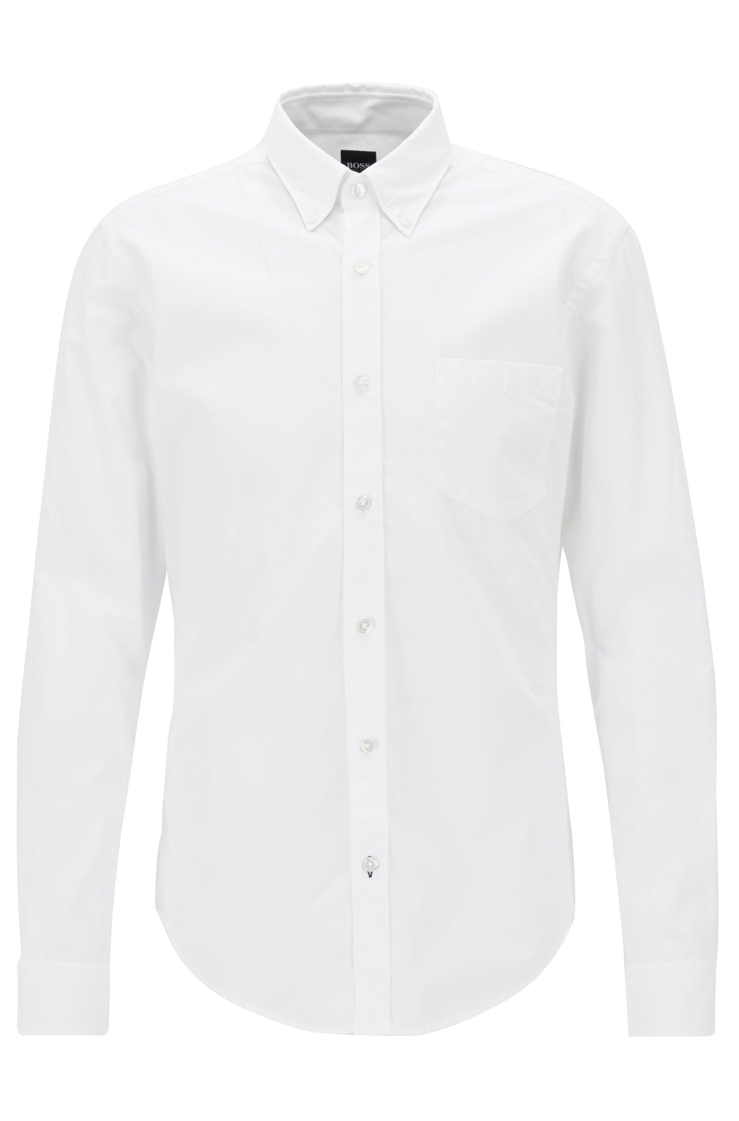 Camisa slim fit de manga larga en algodón fil a fil