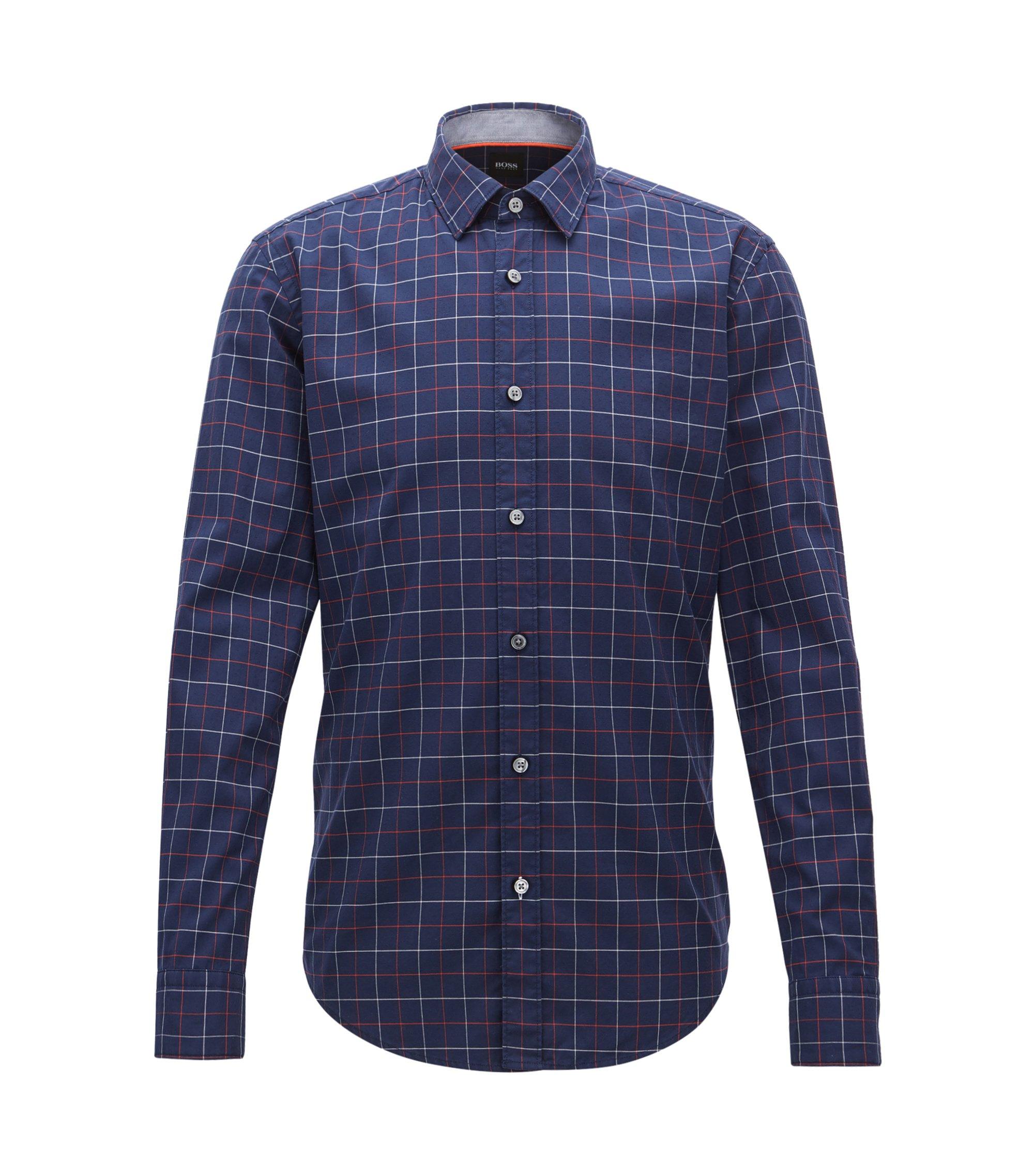 Kariertes Slim-Fit Oxford-Hemd aus strukturierter Baumwolle , Dunkelblau