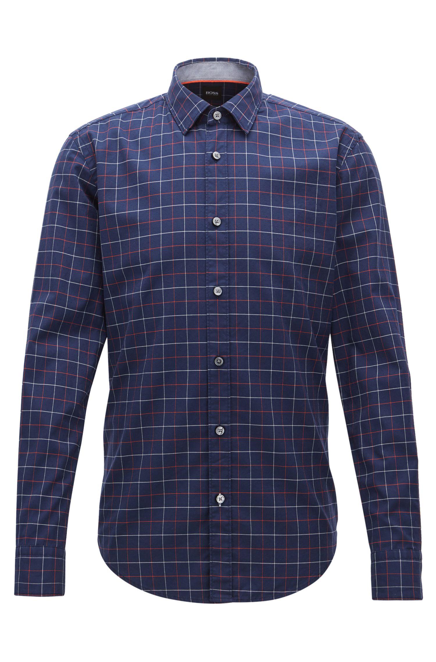 Kariertes Slim-Fit Oxford-Hemd aus strukturierter Baumwolle