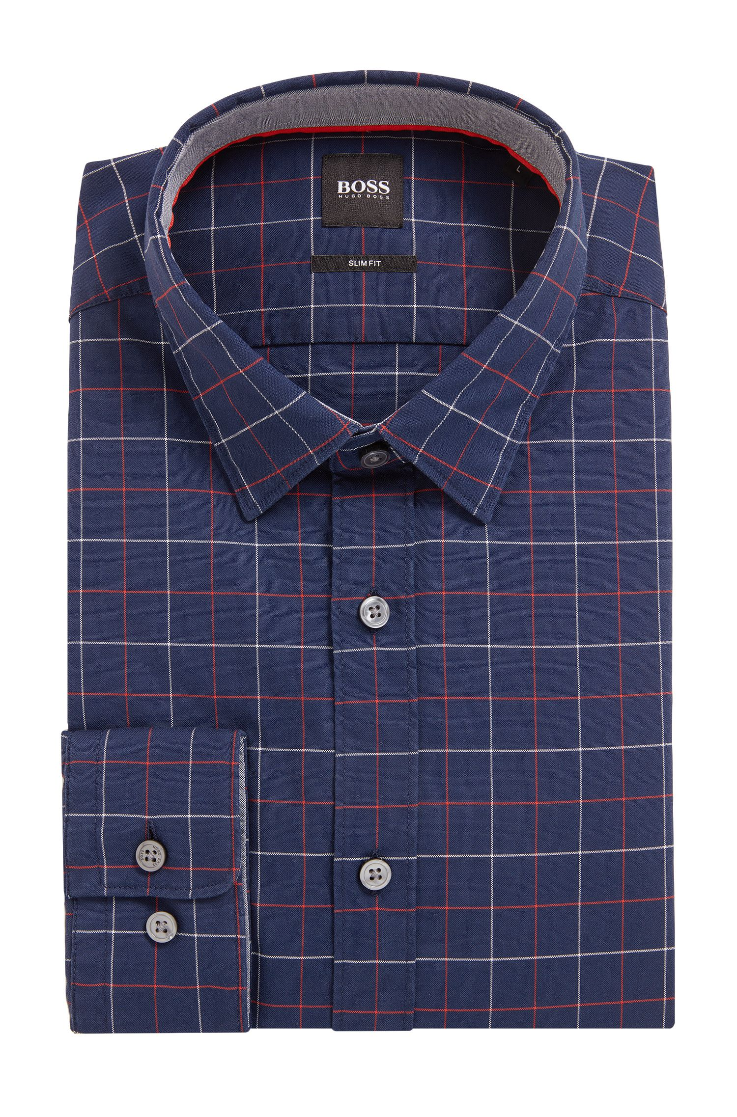 Camicia stile oxford slim fit in cotone dobby a quadri