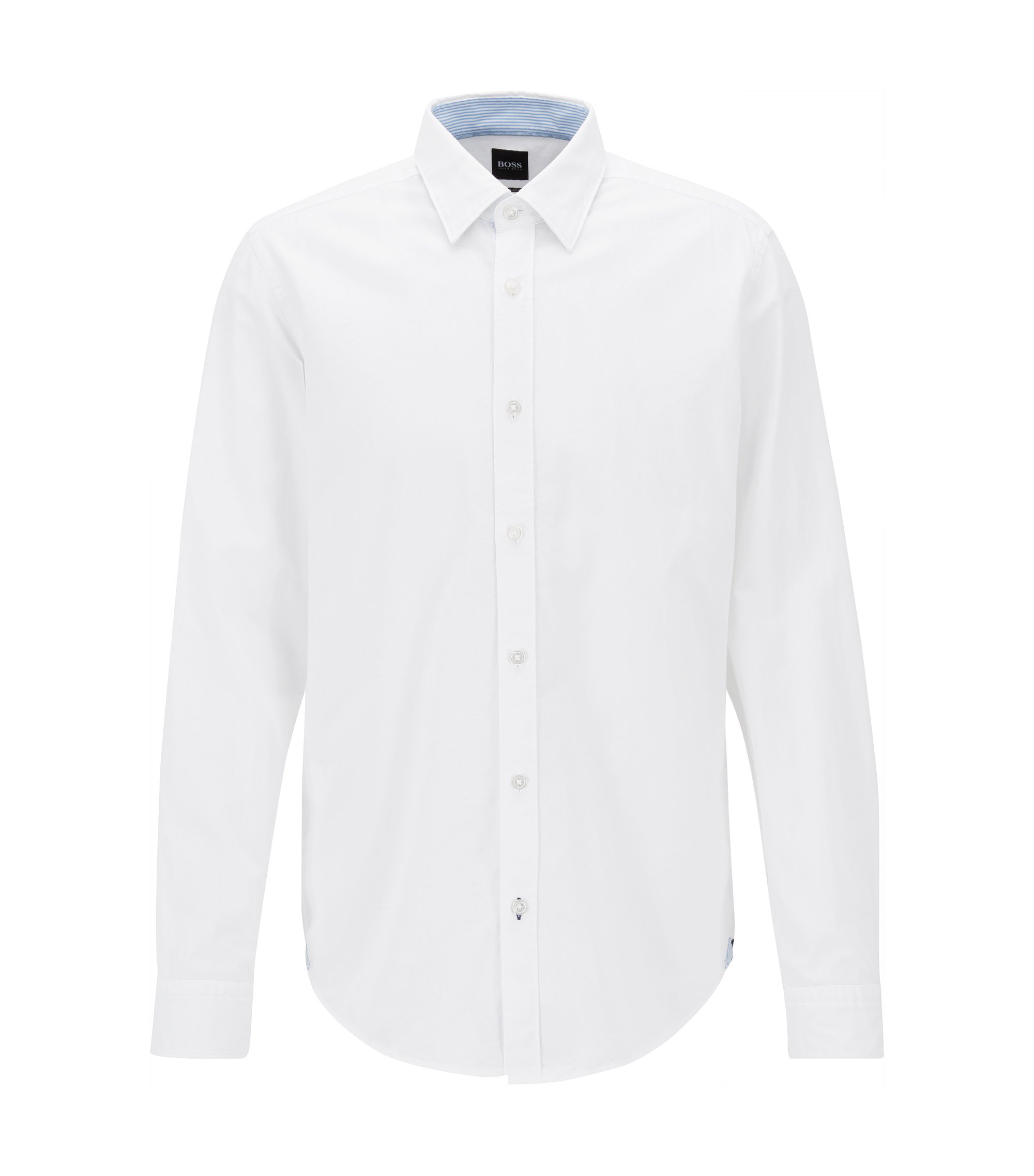 Regular-fit Oxford shirt in mercerised cotton, White