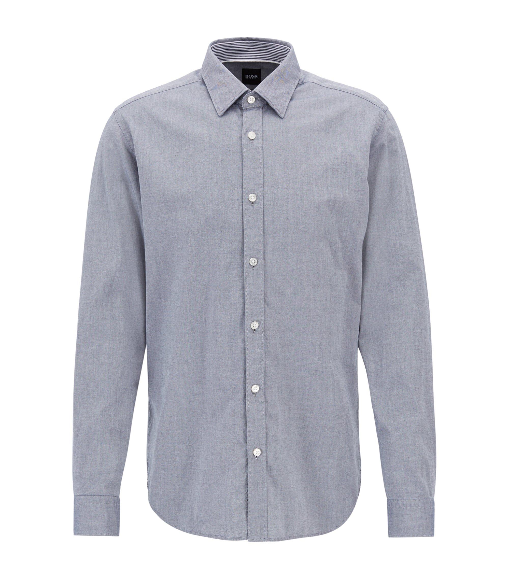 Chemise Oxford Slim Fit en coton mercerisé, Bleu foncé
