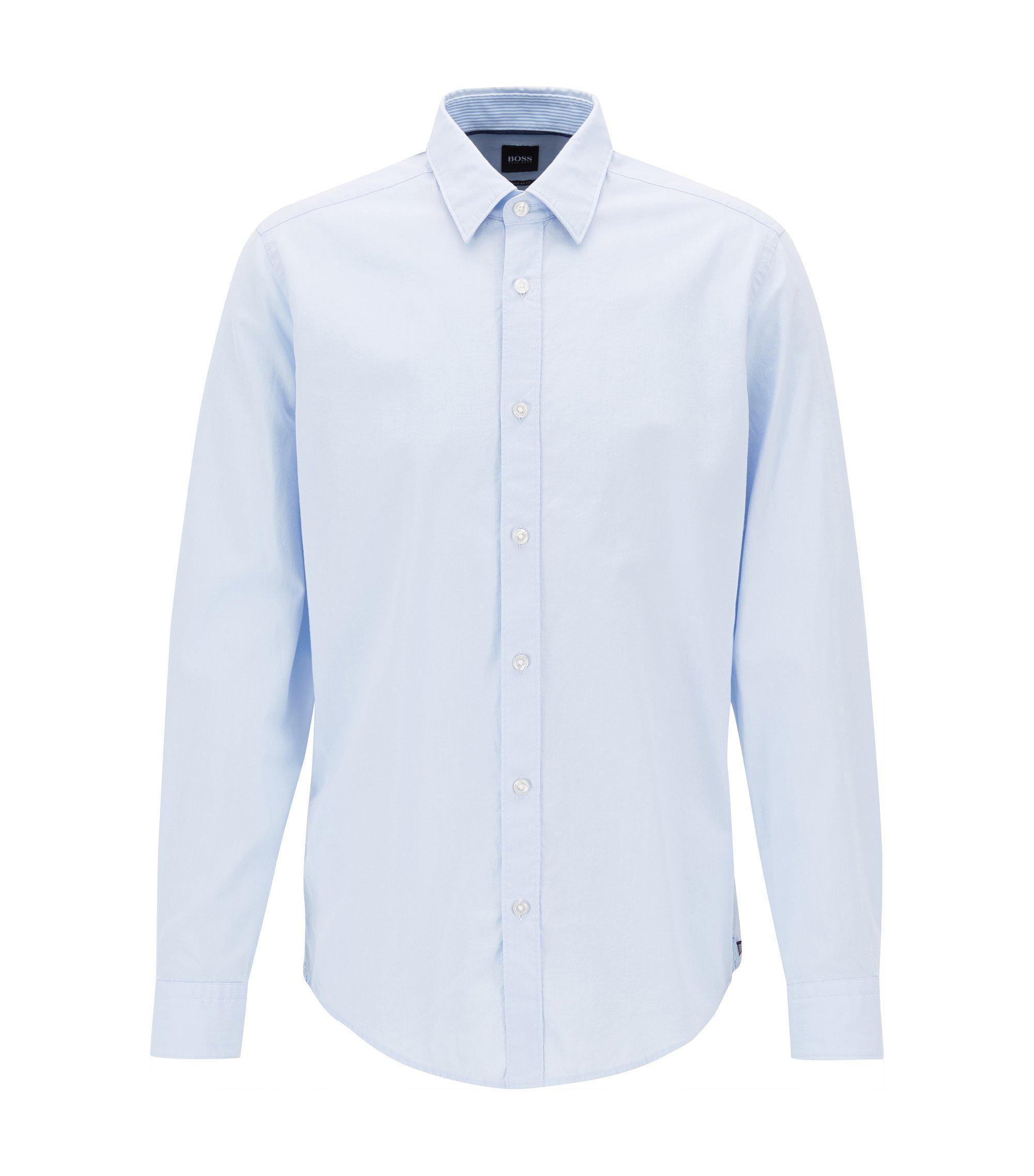 Slim-fit Oxford shirt in mercerised cotton, Light Blue