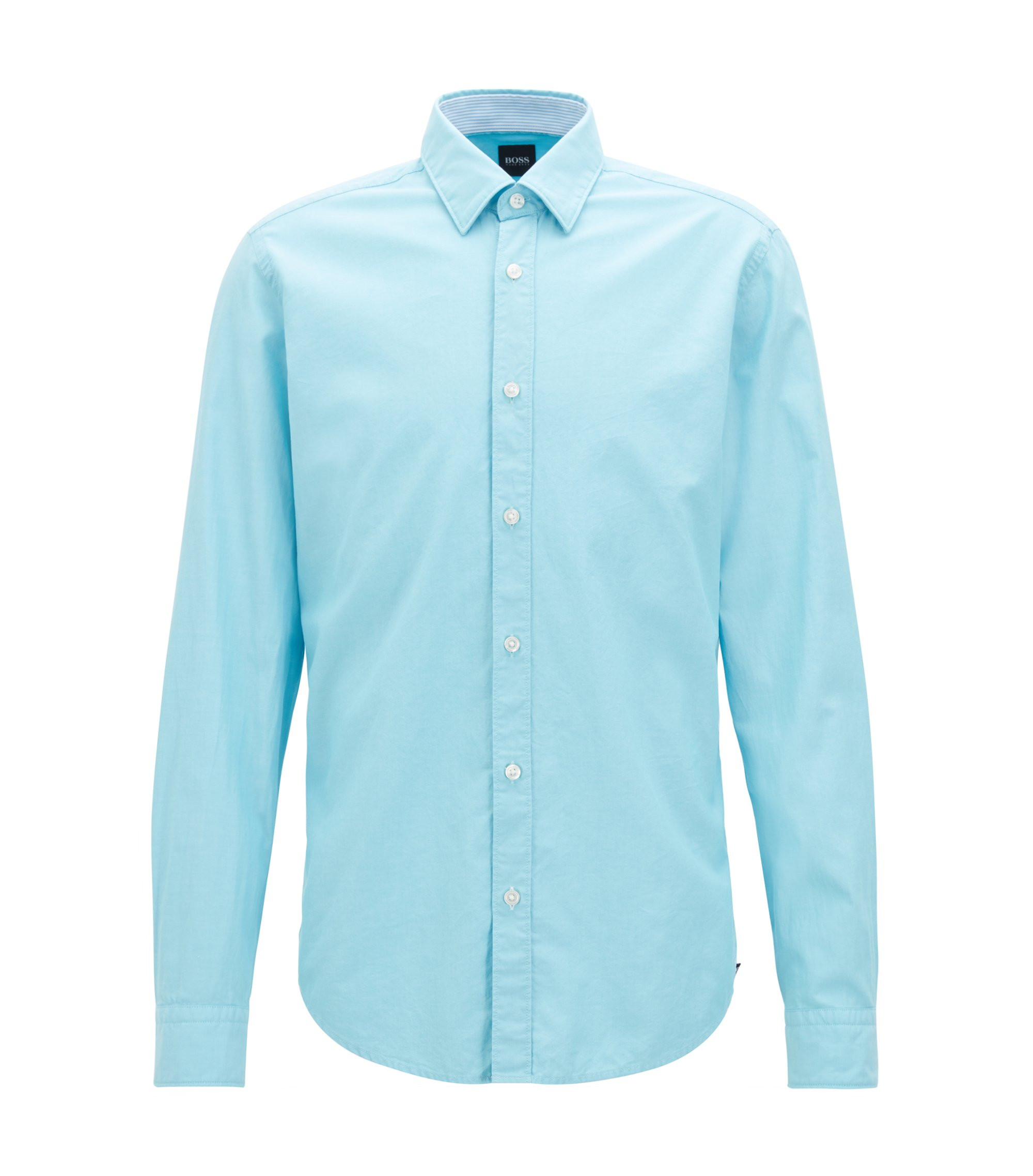 Slim-Fit Oxford-Hemd aus merzerisierter Baumwolle, Hellblau