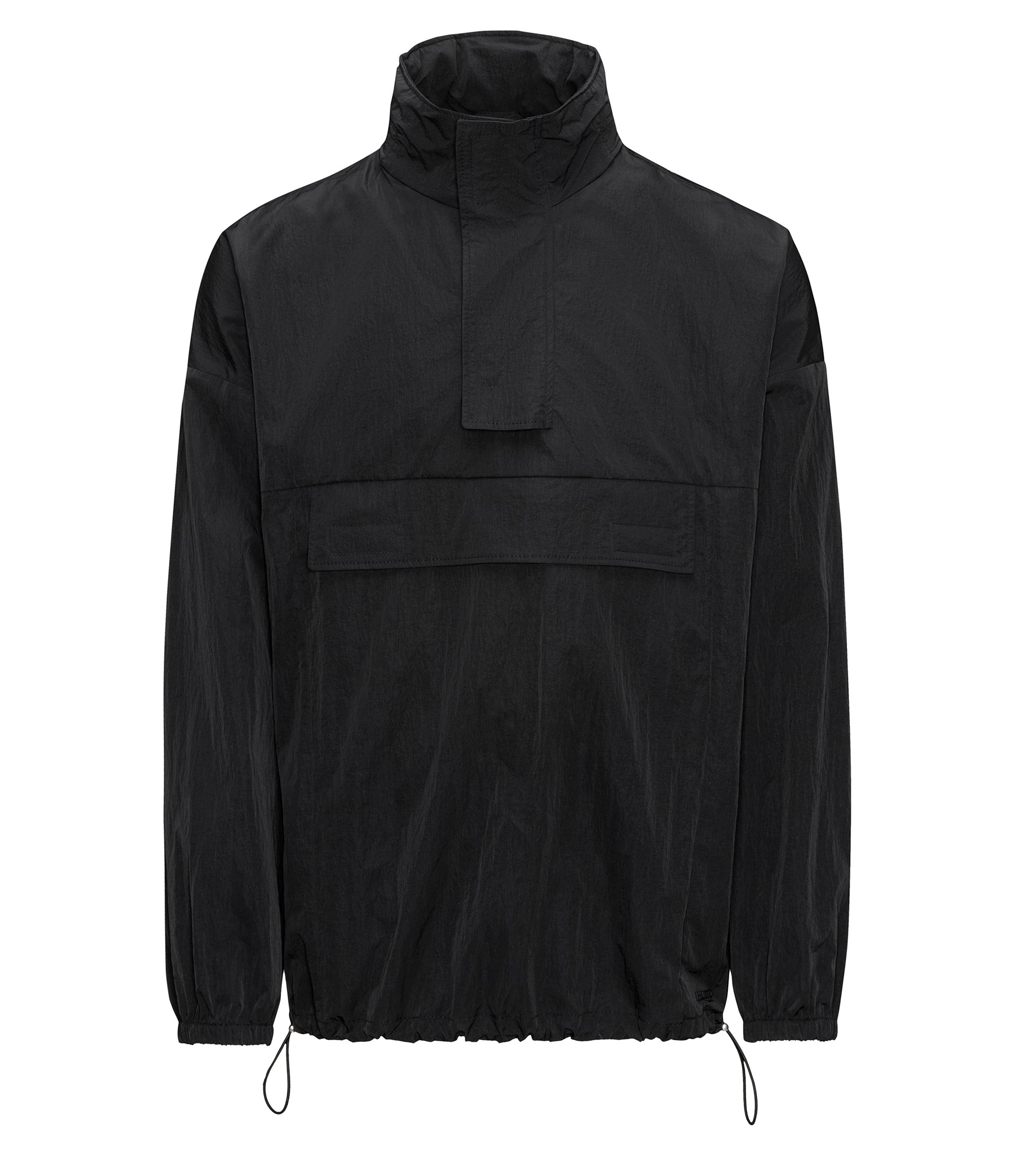 Relaxed-fit windbreaker jacket in water-repellent technical fabric, Black