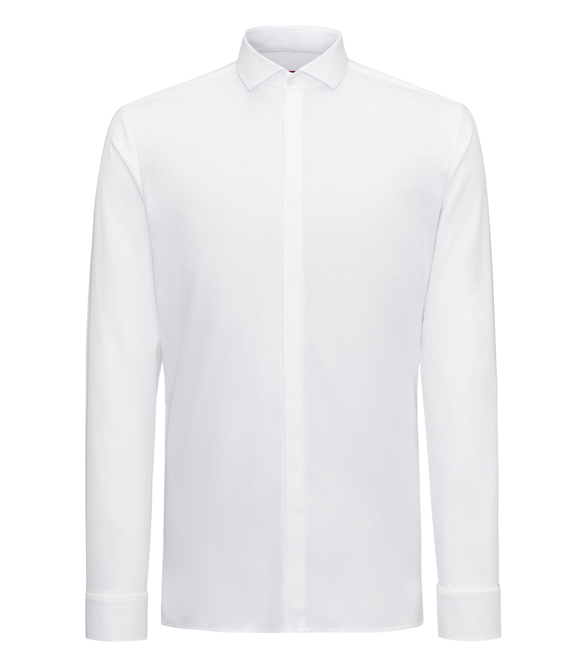 Extra-slim-fit evening shirt in structured cotton with spread collar, Open White