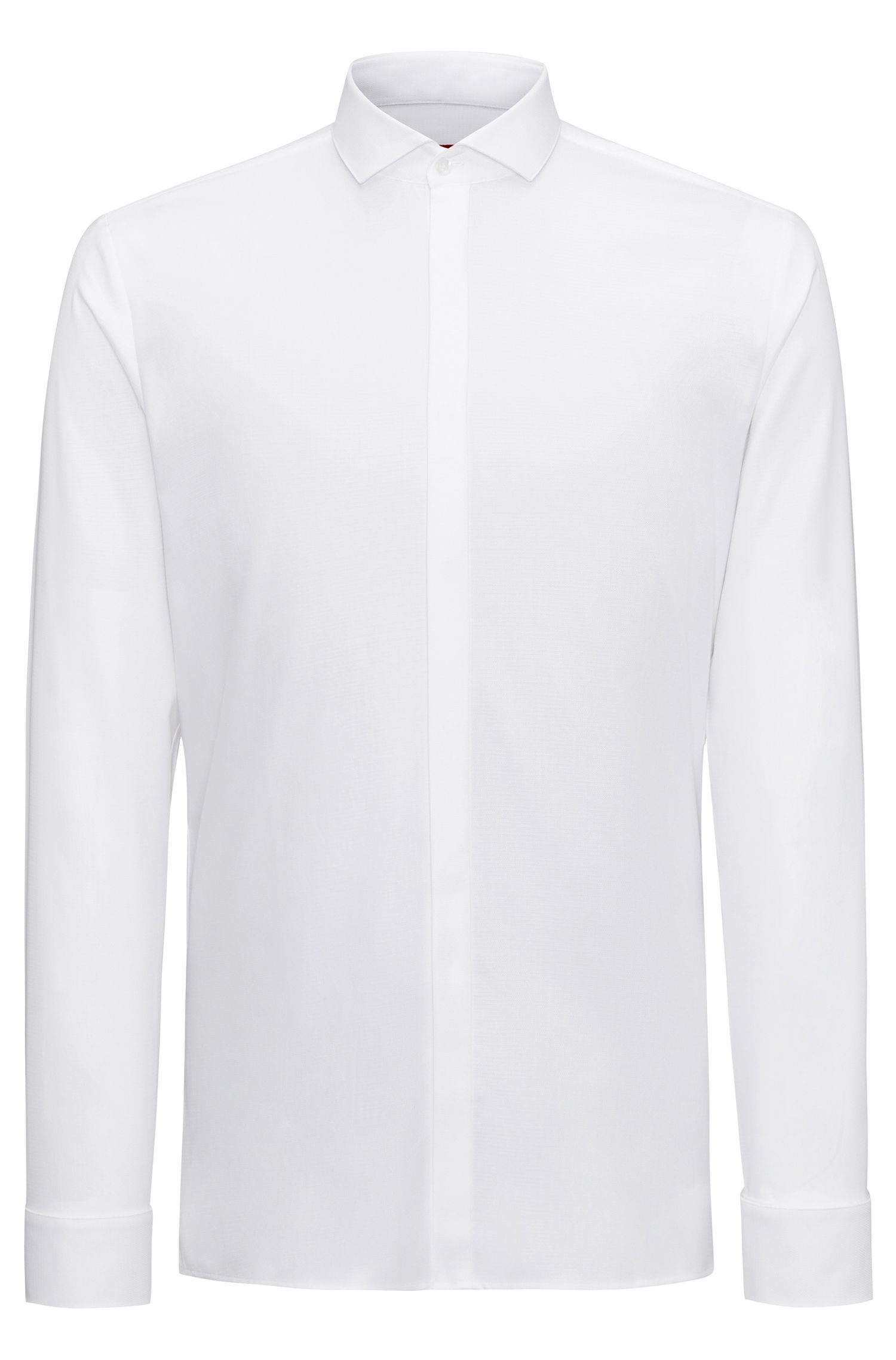 Extra-slim-fit evening shirt in structured cotton with spread collar