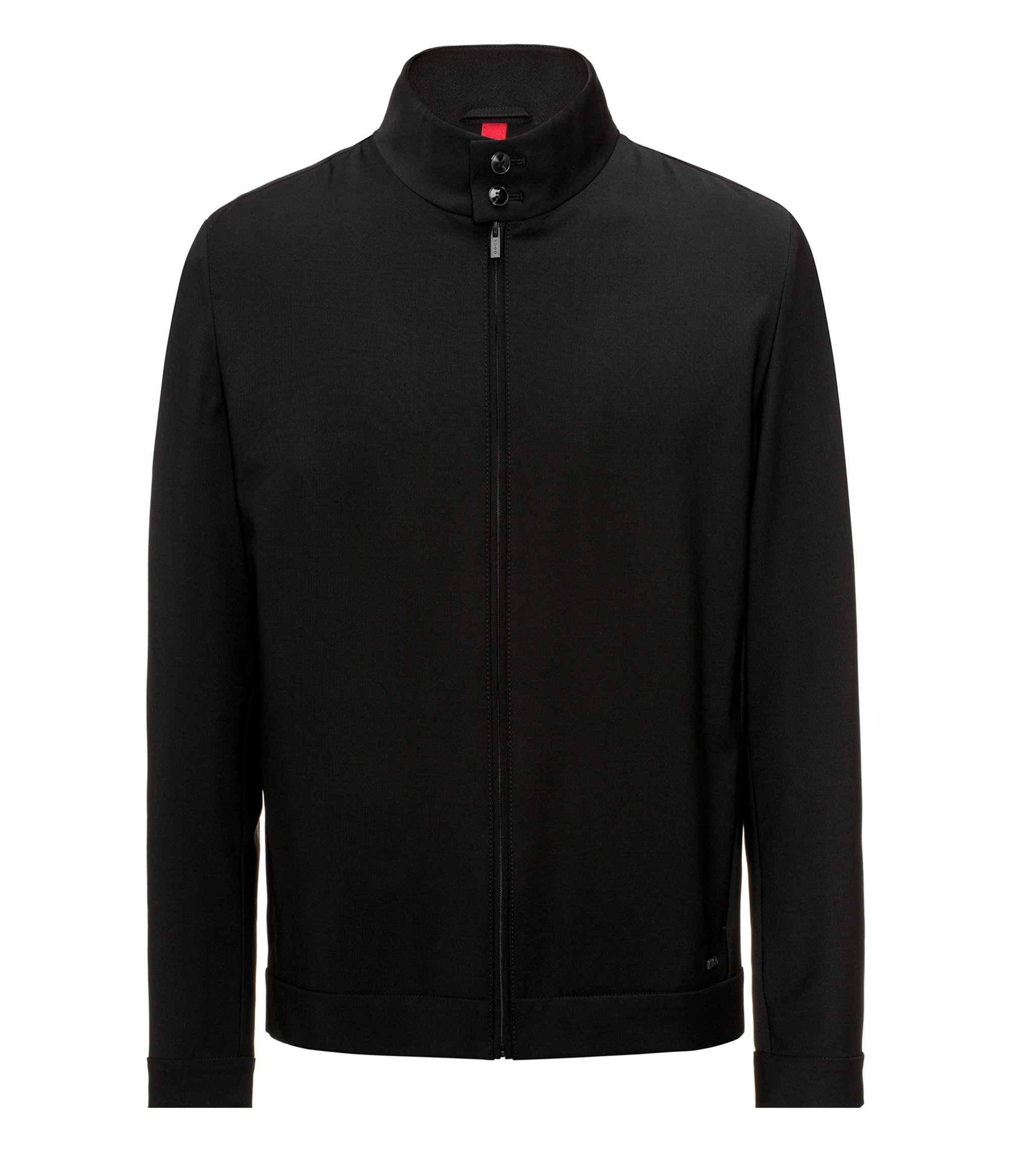 Slim-fit jacket in a stretch virgin-wool blend, Black