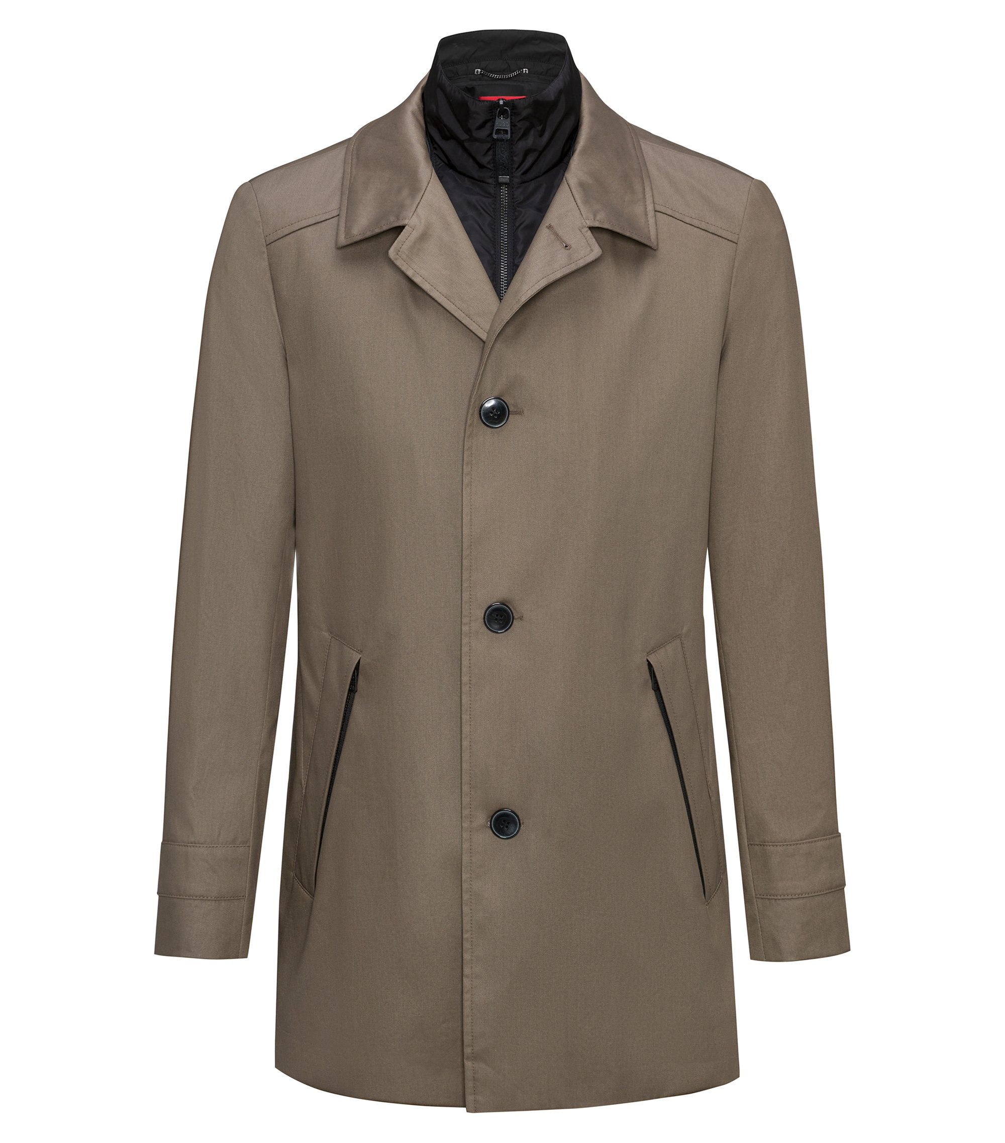 Slim-fit jacket with a water-repellent cotton outer, Brown