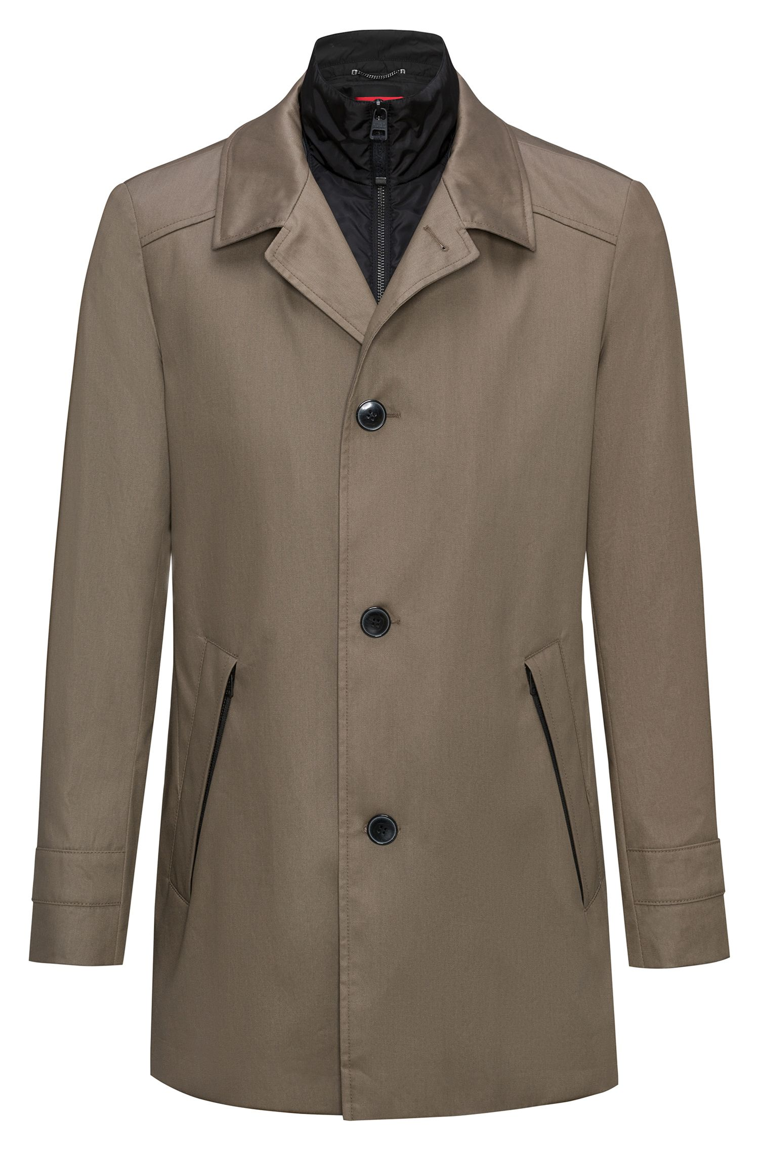 Slim-fit jas met buitenkant van waterafstotende katoen