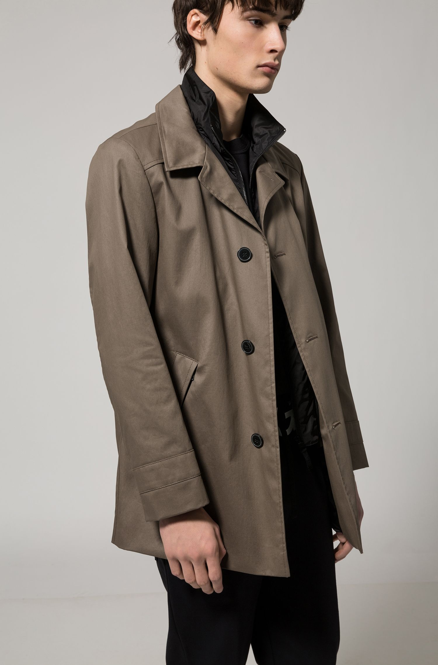Jacke aus wasserabweisender Baumwolle, Braun