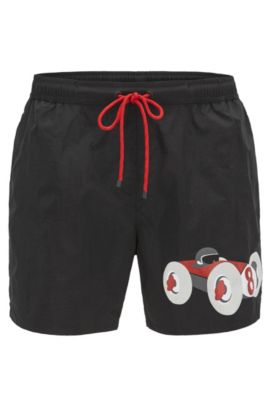 Racecar swim shorts in technical fabric, Black
