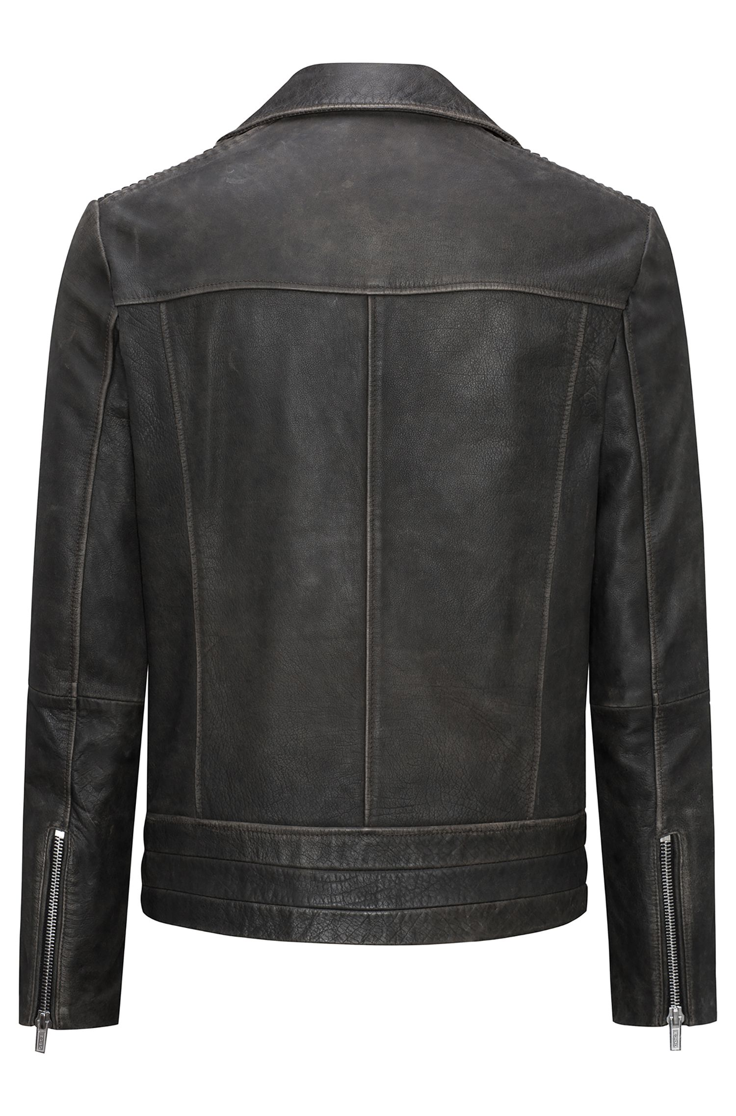 Relaxed-fit biker jacket in nappa calf leather