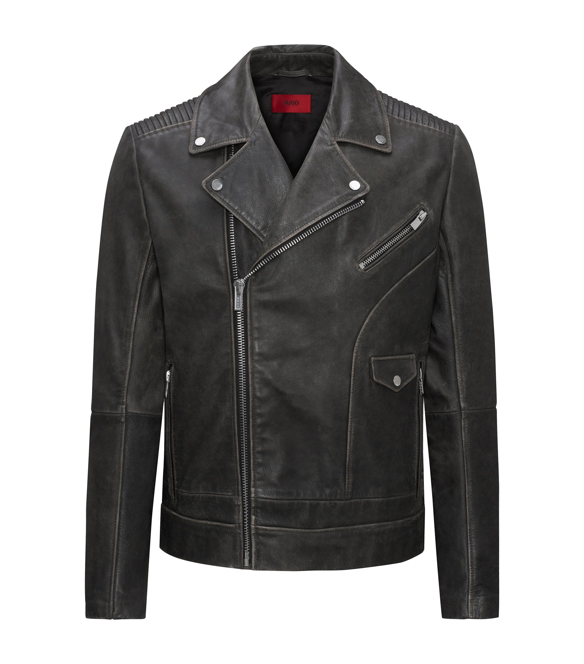Giubbotto biker relaxed fit in pelle di vitello nappa, Nero