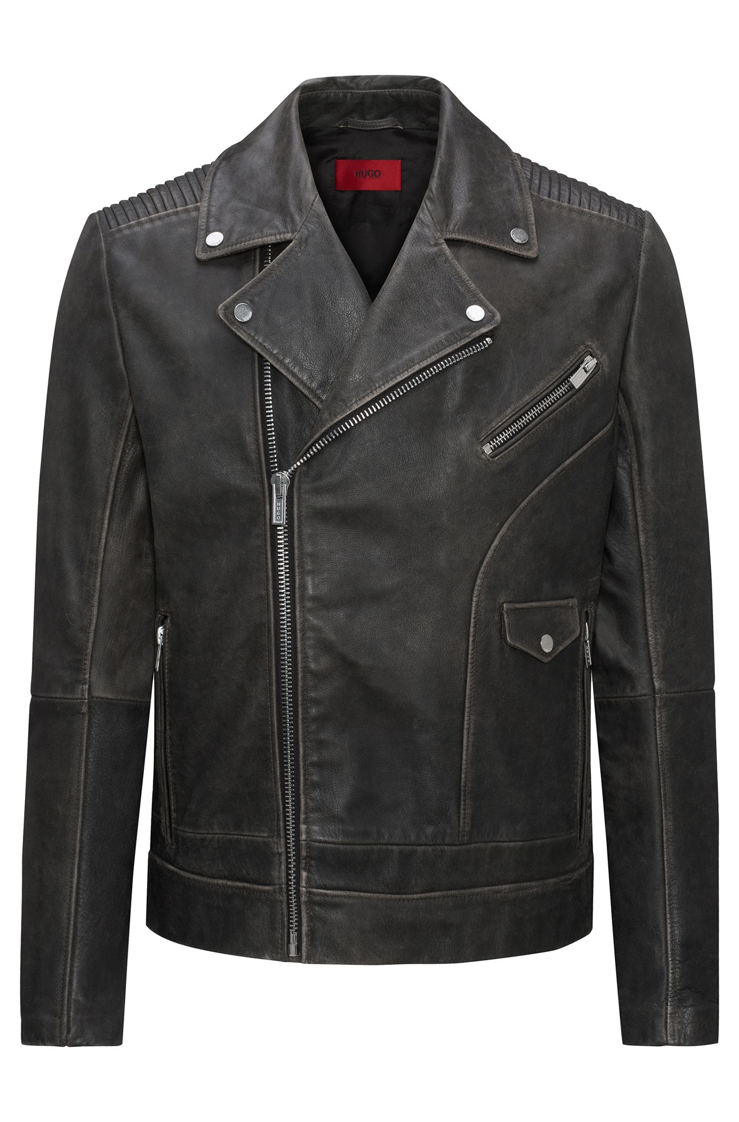 Giubbotto biker relaxed fit in pelle di vitello nappa